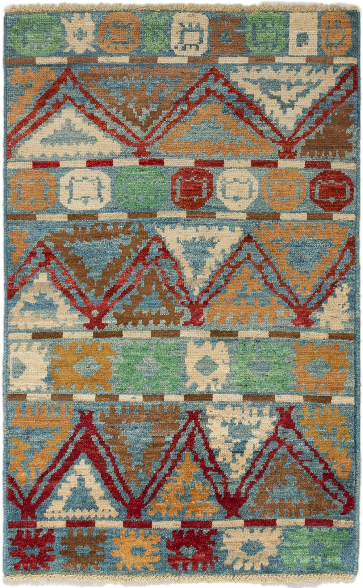 """Hand-knotted Shalimar Cream, Light Blue  Wool Rug 3'10"""" x 6'2"""" Size: 3'10"""" x 6'2"""""""