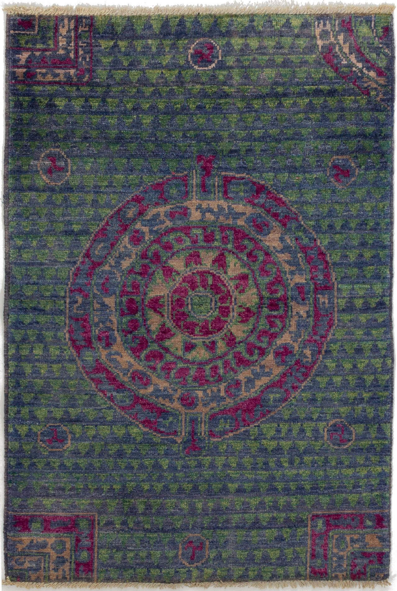 """Hand-knotted Shalimar Navy Blue Wool Rug 3'10"""" x 5'9"""" Size: 3'10"""" x 5'9"""""""