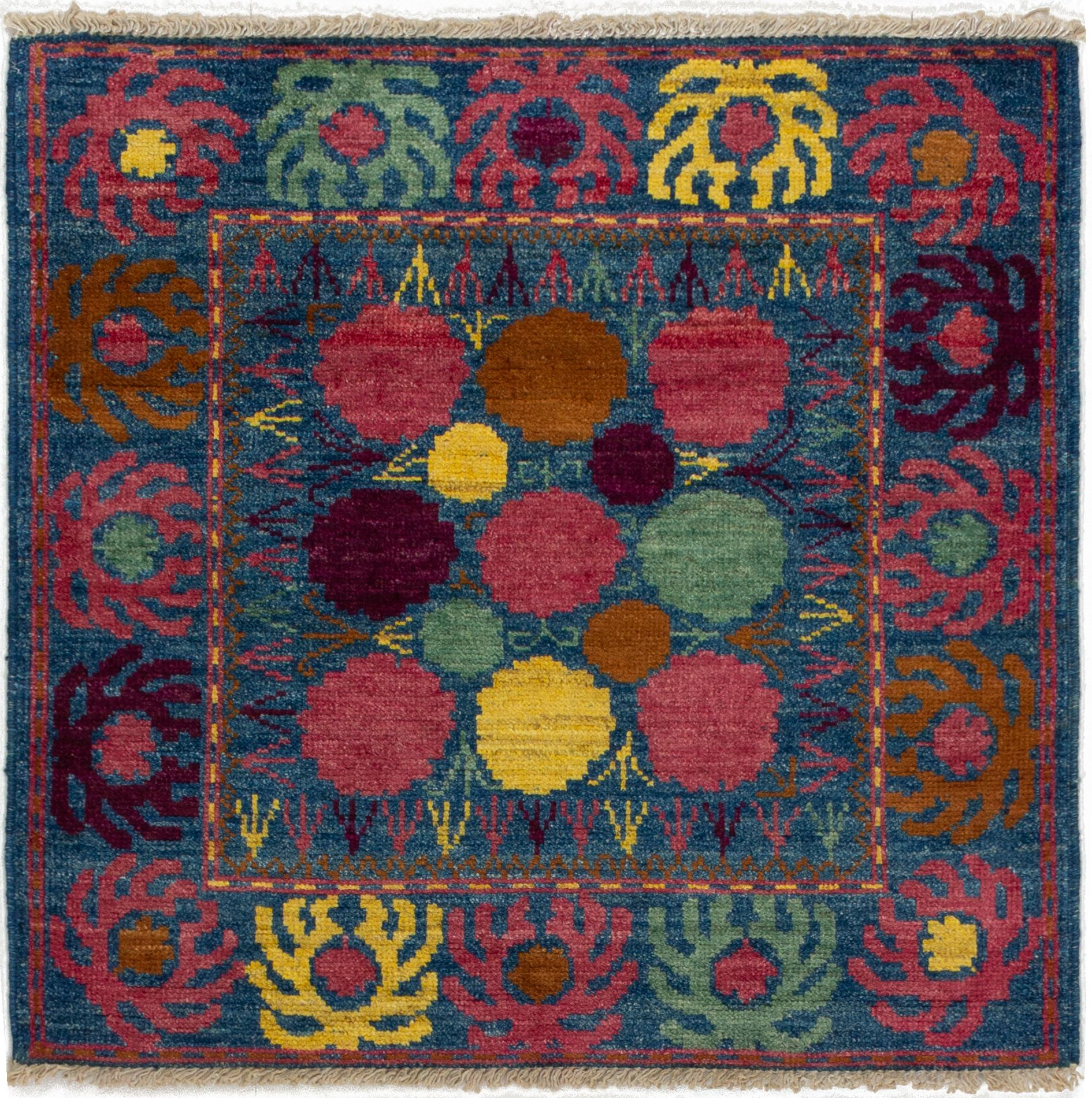 """Hand-knotted Shalimar Navy Blue Wool Rug 4'0"""" x 4'0"""" Size: 4'0"""" x 4'0"""""""