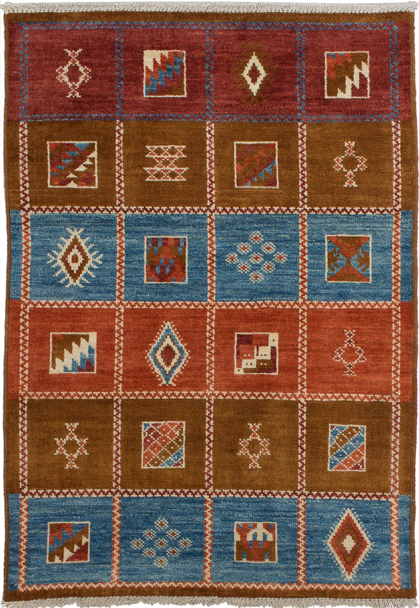 """Hand-knotted Shalimar Blue, Brown Wool Rug 4'3"""" x 6'0"""" Size: 4'3"""" x 6'0"""""""