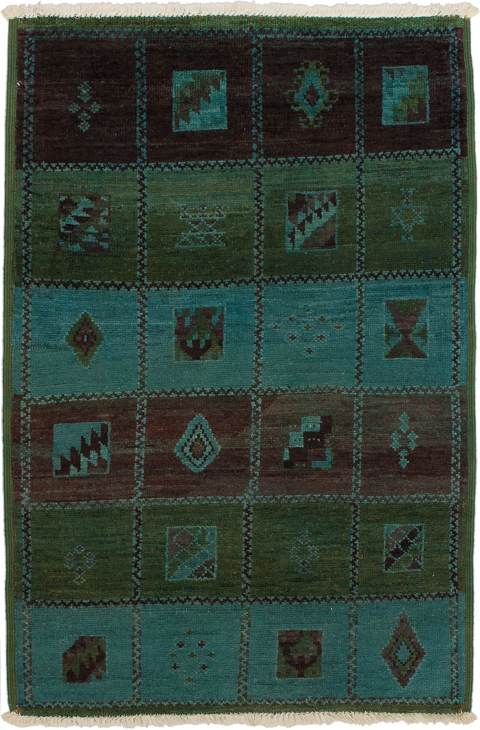 """Hand-knotted Vibrance Light Blue , Olive Wool Rug 3'11"""" x 5'10"""" Size: 3'11"""" x 5'10"""""""