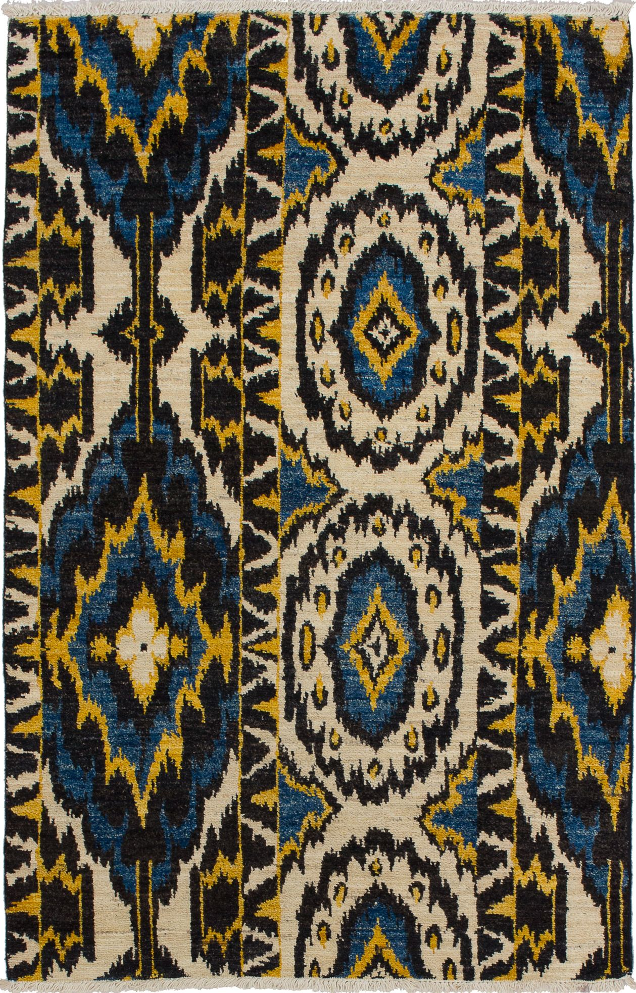 "Hand-knotted Shalimar Cream, Dark Blue Wool Rug 4'0"" x 6'4"" Size: 4'0"" x 6'4"""