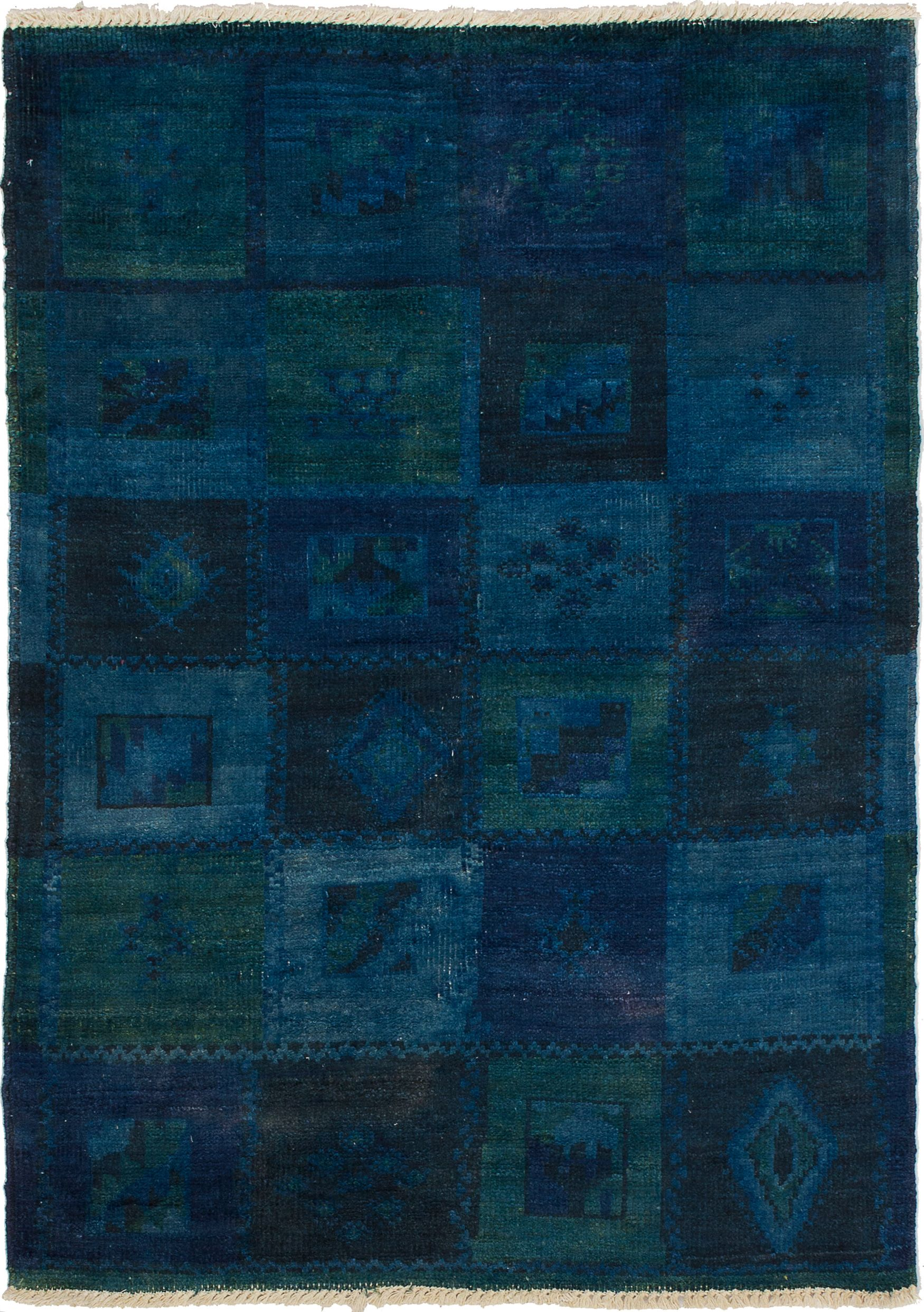 """Hand-knotted Vibrance Blue Wool Rug 4'0"""" x 5'6"""" Size: 4'0"""" x 5'6"""""""
