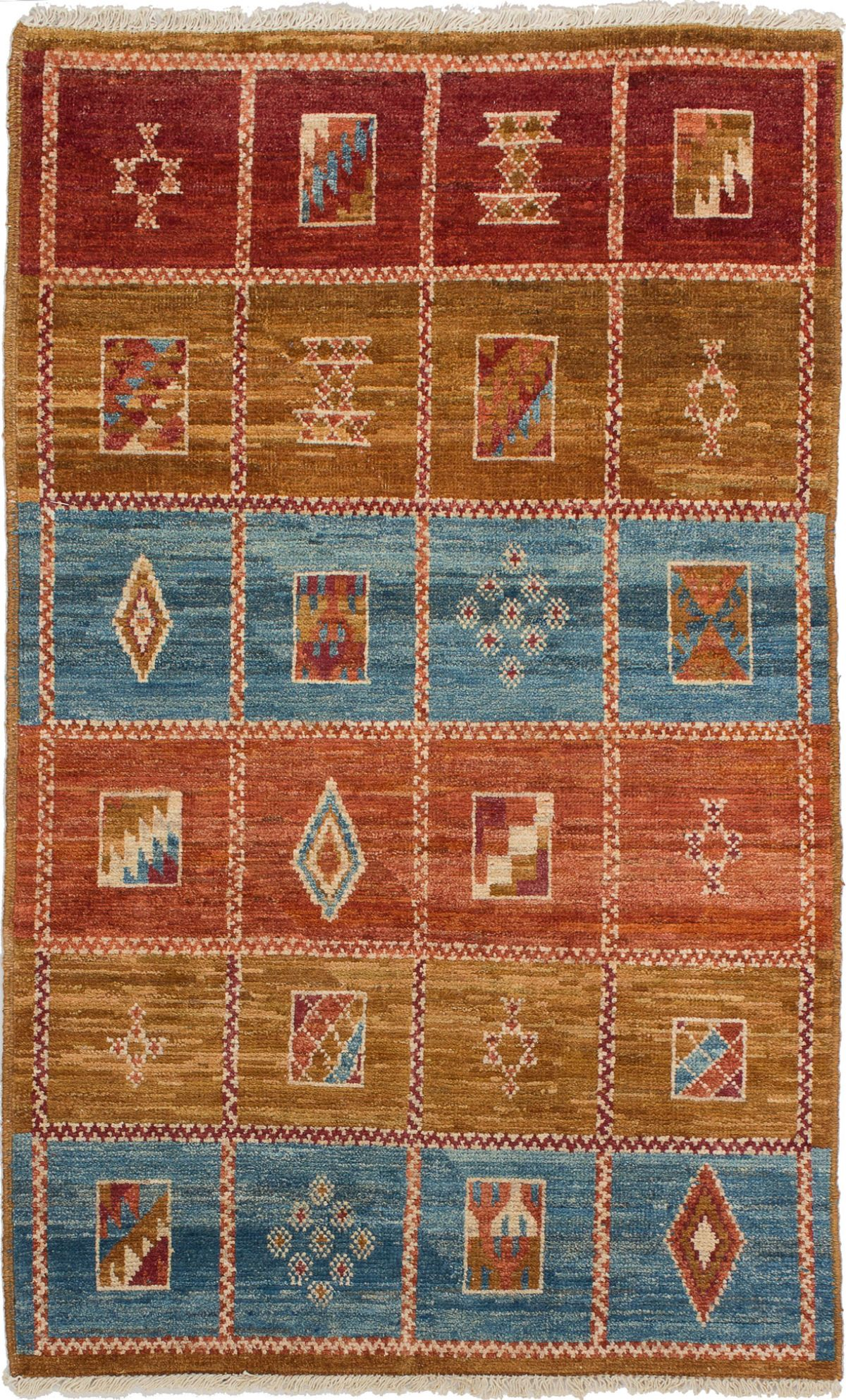 """Hand-knotted Shalimar Light Brown, Sky Blue Wool Rug 4'0"""" x 6'5"""" Size: 4'0"""" x 6'5"""""""