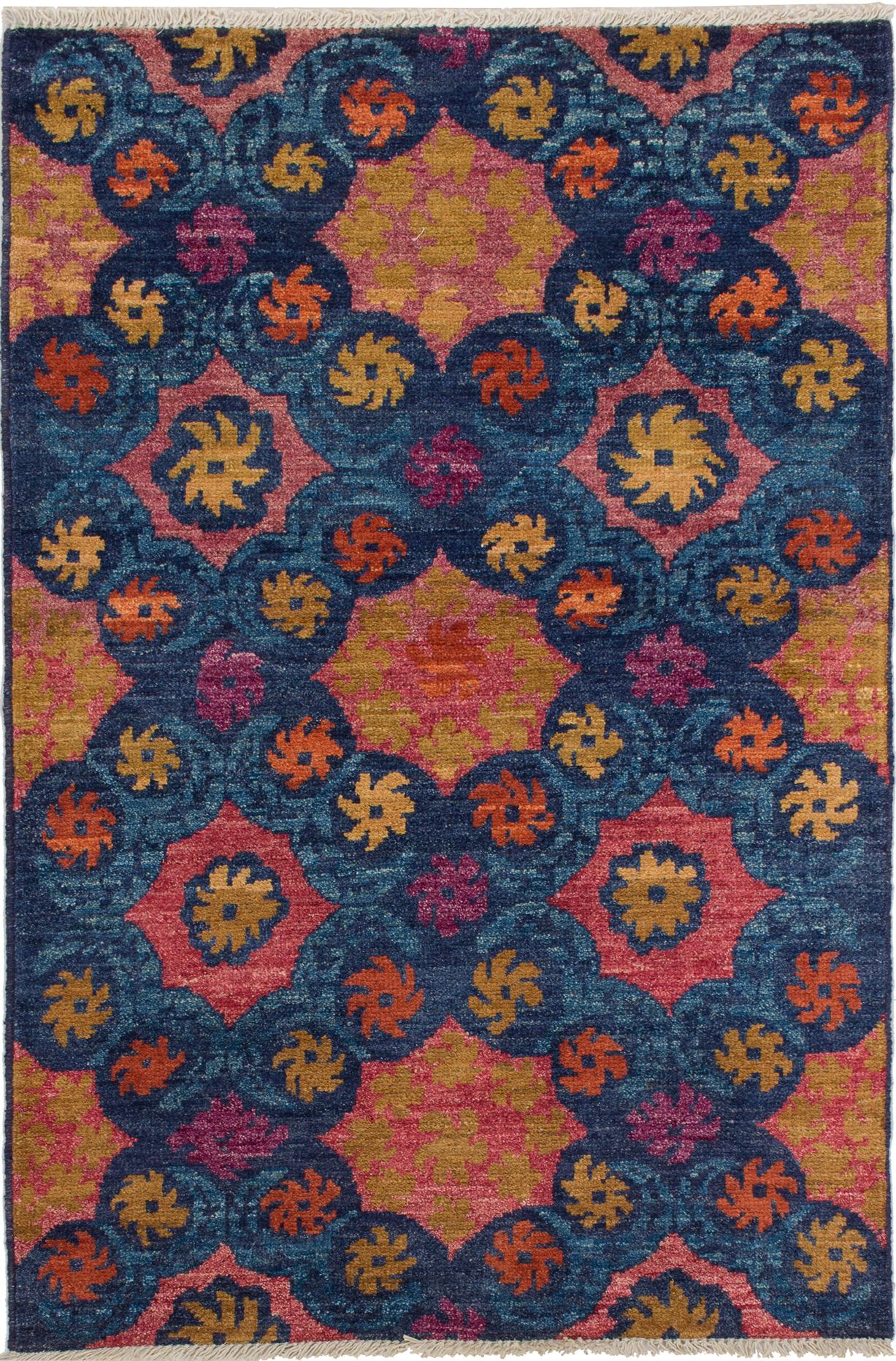 """Hand-knotted Shalimar Blue Wool Rug 4'2"""" x 6'3"""" Size: 4'2"""" x 6'3"""""""