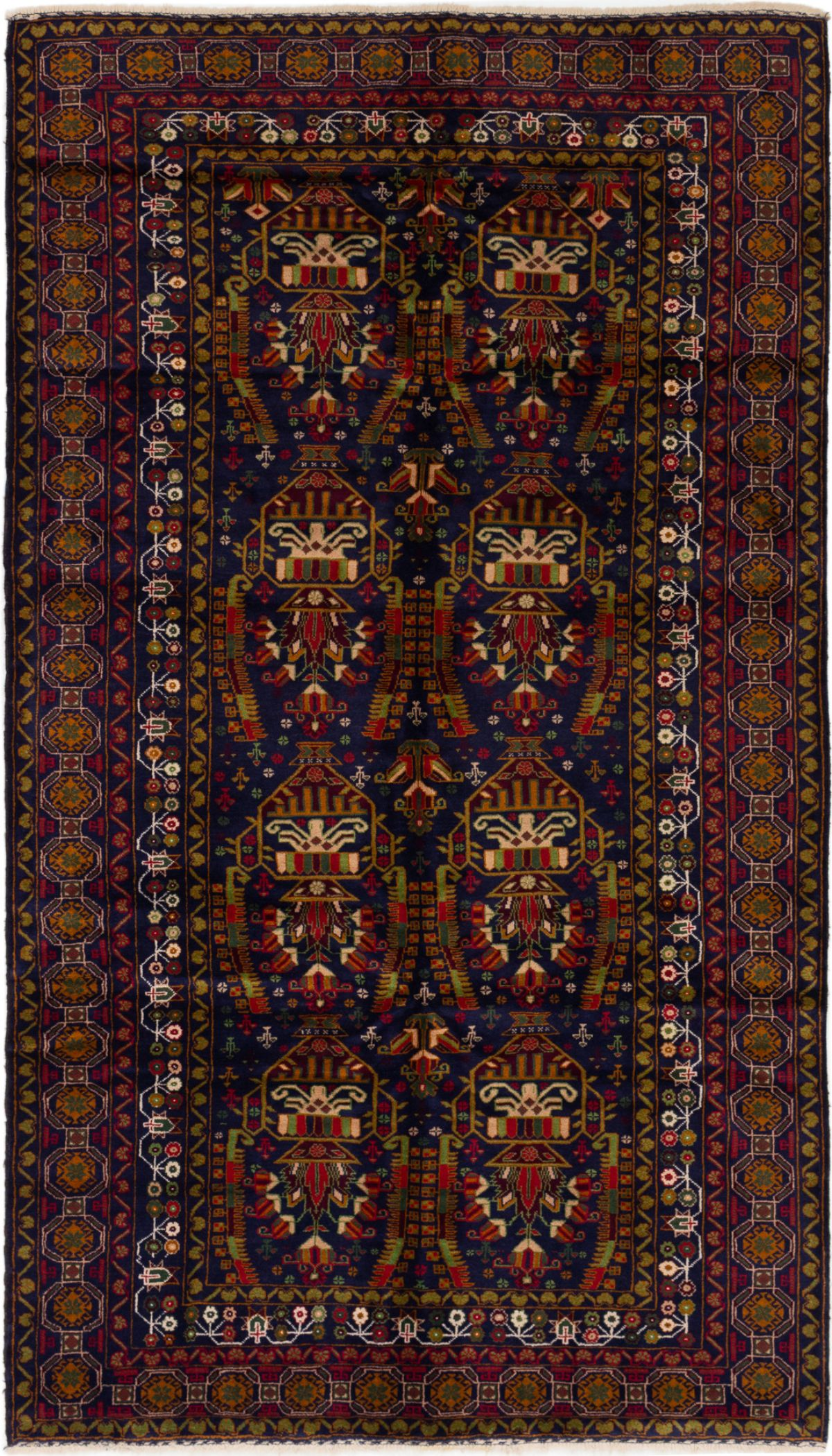 """Hand-knotted Royal Baluch Navy Blue Wool Rug 5'7"""" x 9'8"""" Size: 5'7"""" x 9'8"""""""