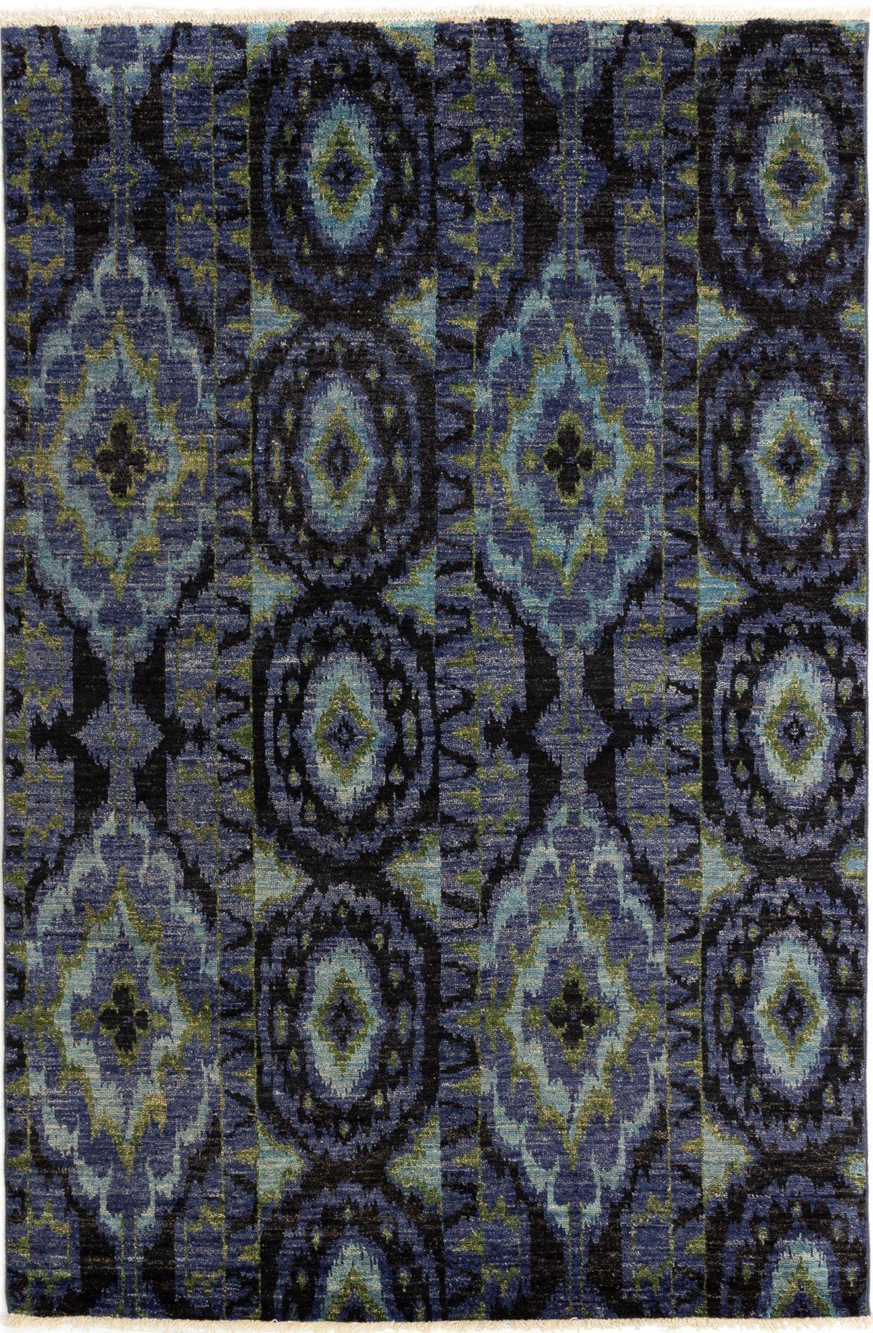 "Hand-knotted Shalimar Black, Slate Blue Wool Rug 6'1"" x 9'2"" Size: 6'1"" x 9'2"""