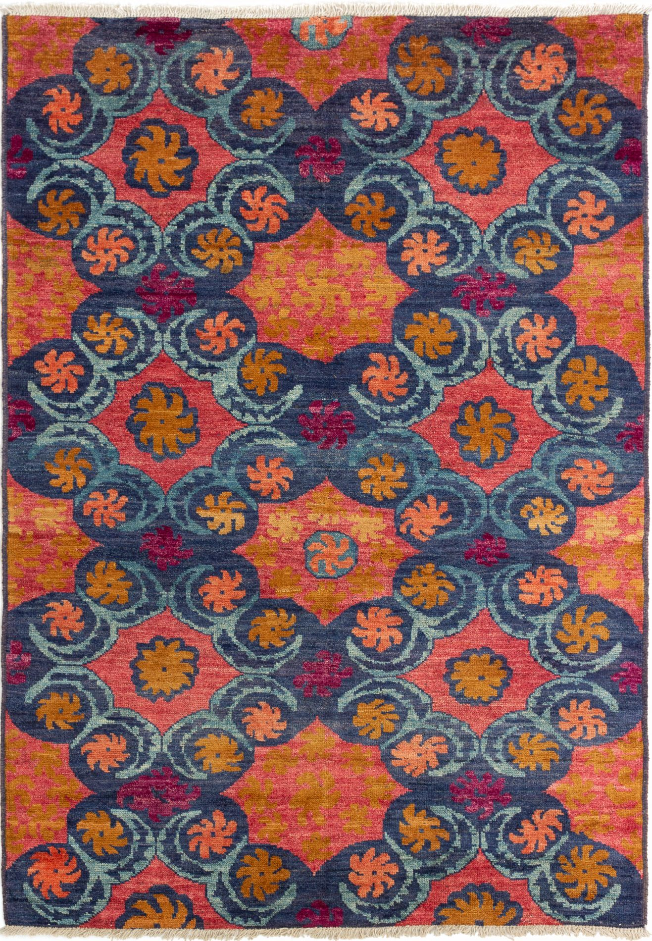 """Hand-knotted Shalimar Navy Blue Wool Rug 6'3"""" x 9'1"""" Size: 6'3"""" x 9'1"""""""