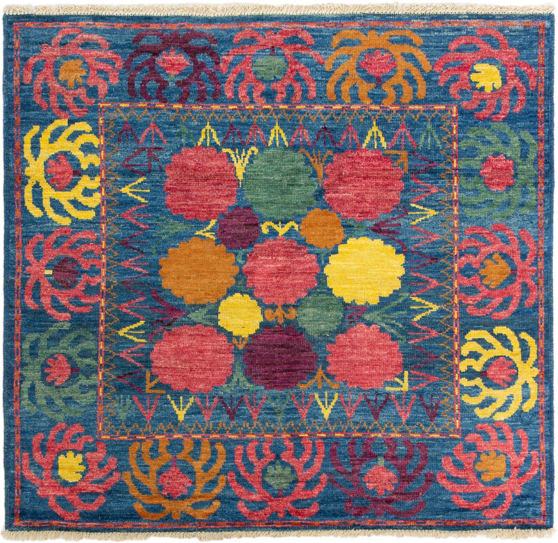 "Hand-knotted Shalimar Dark Blue Wool Rug 6'8"" x 6'4"" Size: 6'8"" x 6'4"""