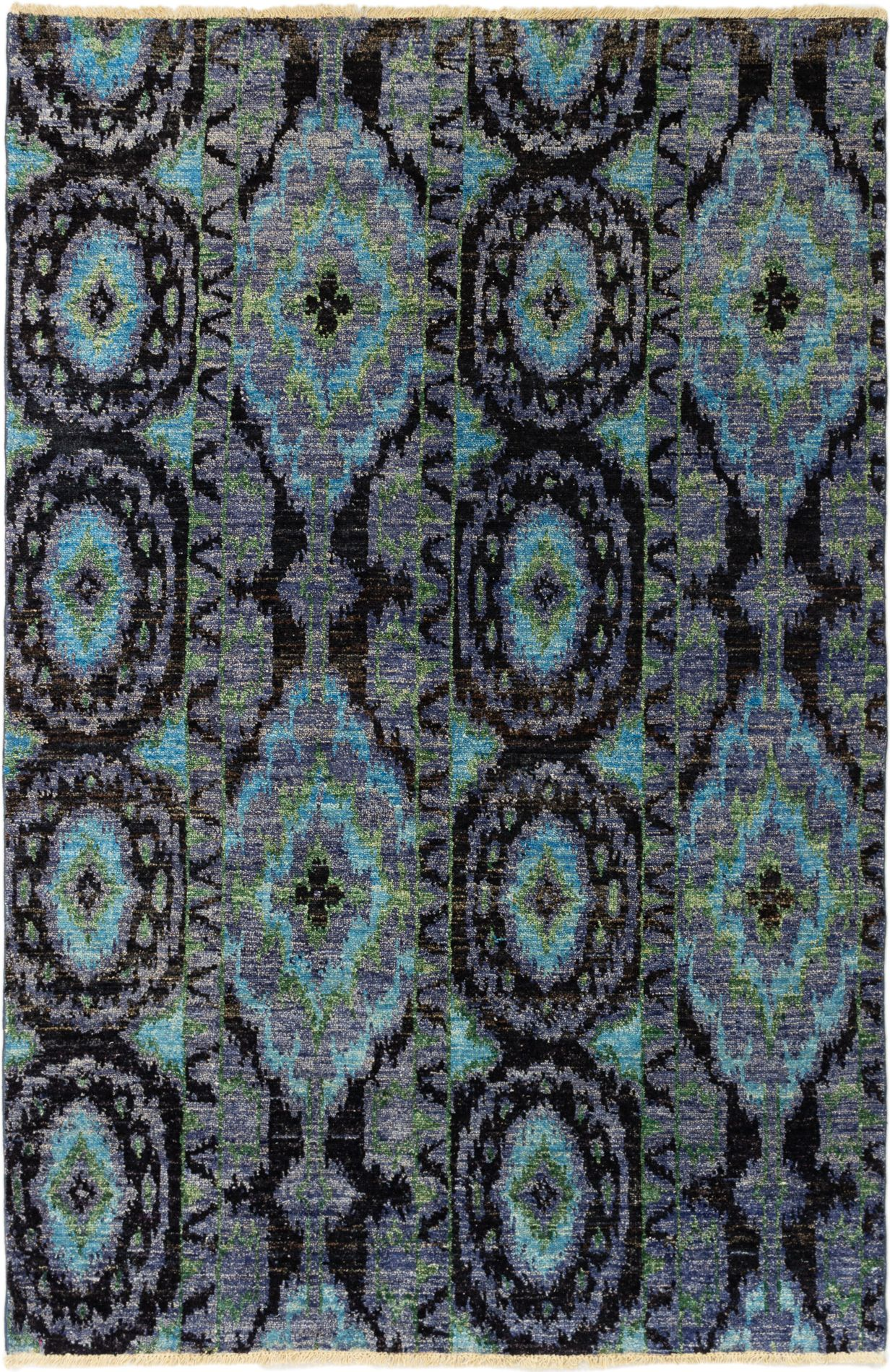 """Hand-knotted Shalimar Black, Light Blue  Wool Rug 6'0"""" x 9'0"""" Size: 6'0"""" x 9'0"""""""