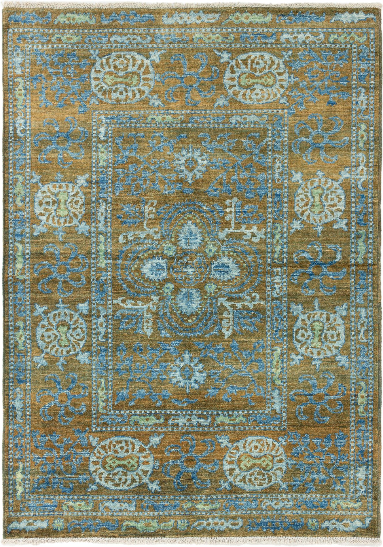 """Hand-knotted Shalimar Blue, Brown Wool Rug 6'2"""" x 8'10"""" Size: 6'2"""" x 8'10"""""""