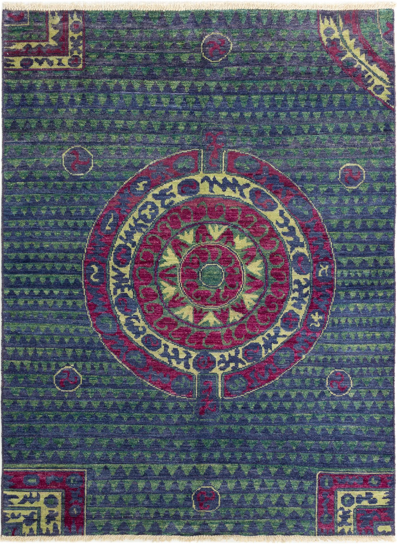 """Hand-knotted Shalimar Navy Blue Wool Rug 6'3"""" x 8'7"""" Size: 6'3"""" x 8'7"""""""