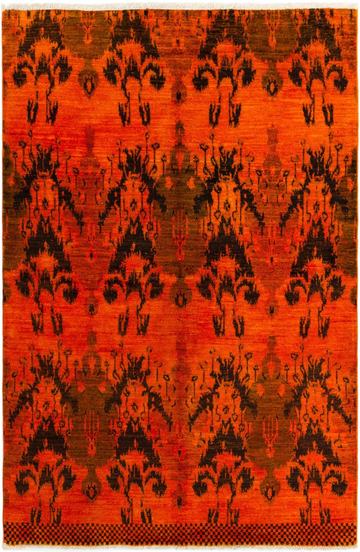 """Hand-knotted Vibrance Orange Wool Rug 5'11"""" x 8'11"""" Size: 5'11"""" x 8'11"""""""
