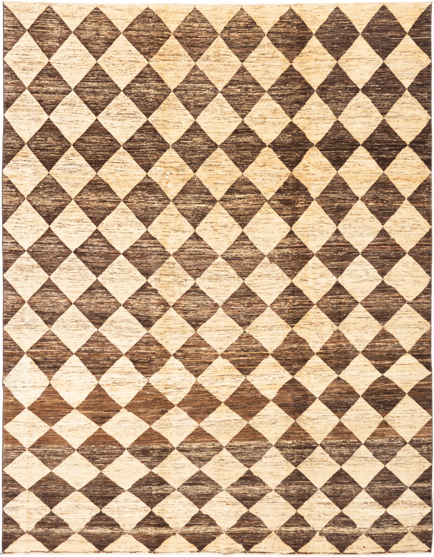 """Hand-knotted Finest Ziegler Chobi Cream, Dark Brown Wool Rug 8'10"""" x 11'3"""" Size: 8'10"""" x 11'3"""""""