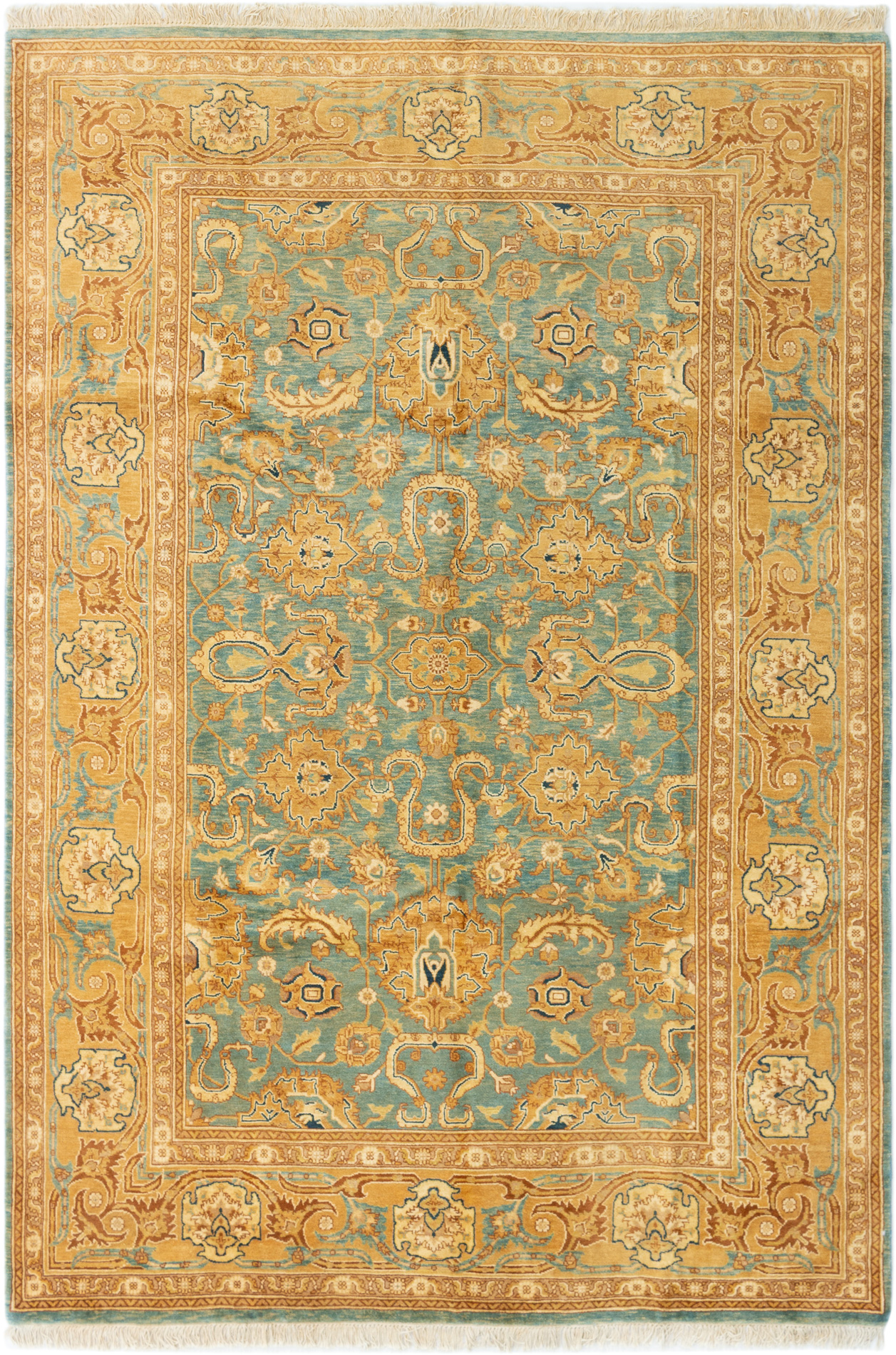 """Hand-knotted Chobi Finest Turquoise Wool Rug 6'1"""" x 8'9"""" Size: 6'1"""" x 8'9"""""""