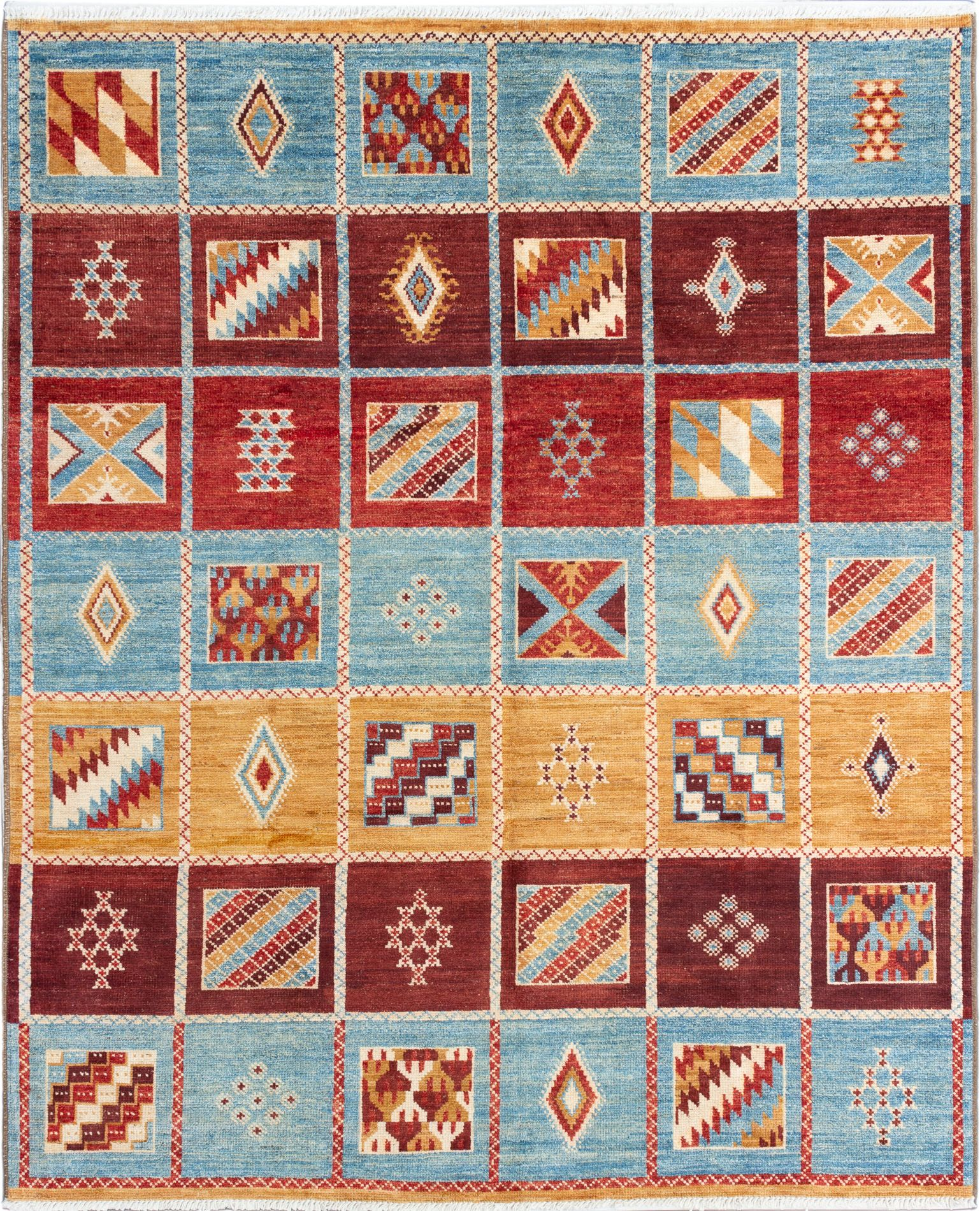 """Hand-knotted Shalimar Dark Red, Sky Blue Wool Rug 8'2"""" x 9'10"""" Size: 8'2"""" x 9'10"""""""