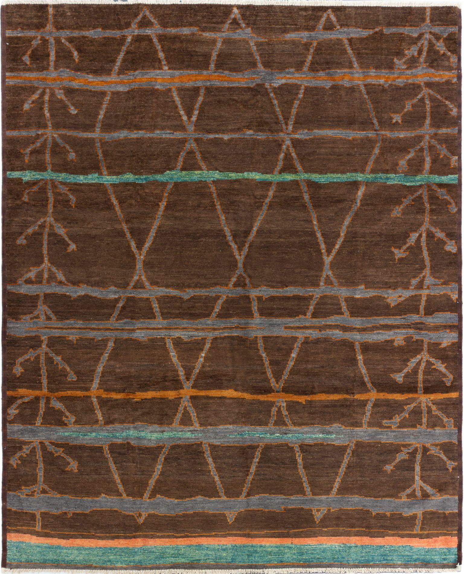 "Hand-knotted Shalimar Dark Brown Wool Rug 8'0"" x 10'0"" Size: 8'0"" x 10'0"""