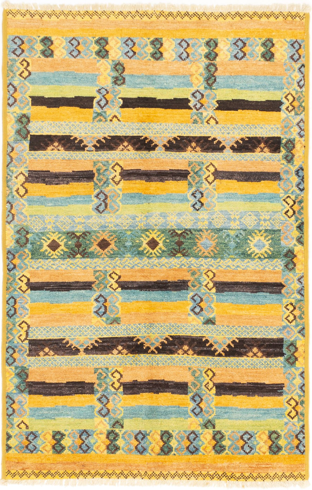 """Hand-knotted Shalimar Light Yellow, Teal Wool Rug 5'2"""" x 8'0"""" Size: 5'2"""" x 8'0"""""""