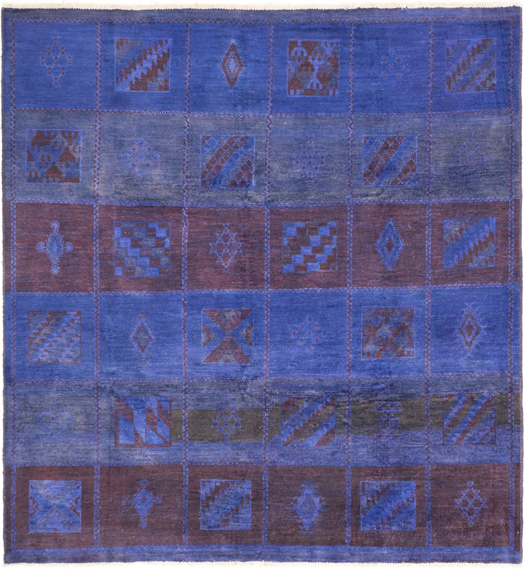 """Hand-knotted Vibrance Dark Blue Wool Rug 8'9"""" x 9'3"""" Size: 8'9"""" x 9'3"""""""
