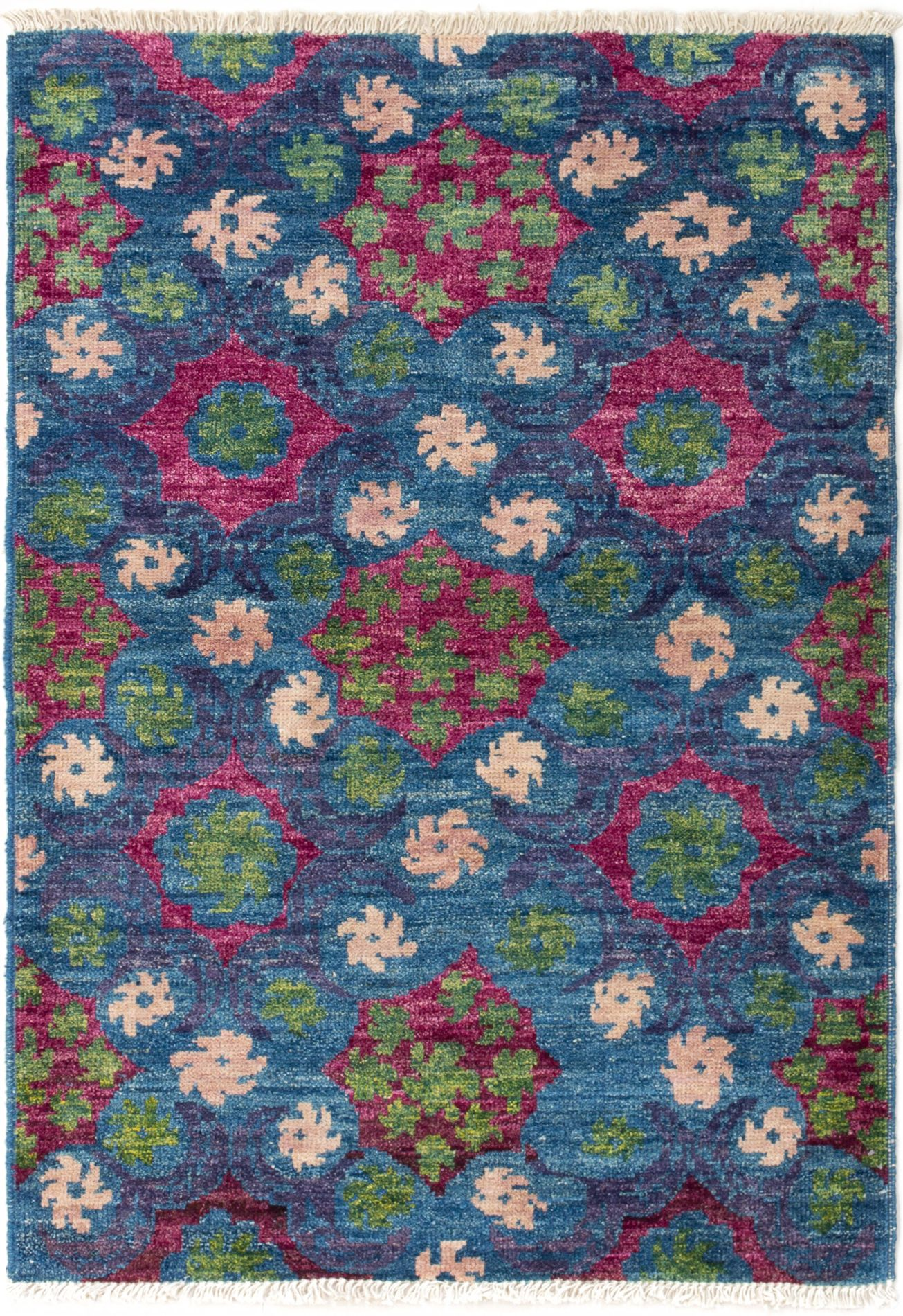 """Hand-knotted Shalimar Blue Wool Rug 4'2"""" x 5'10"""" Size: 4'2"""" x 5'10"""""""