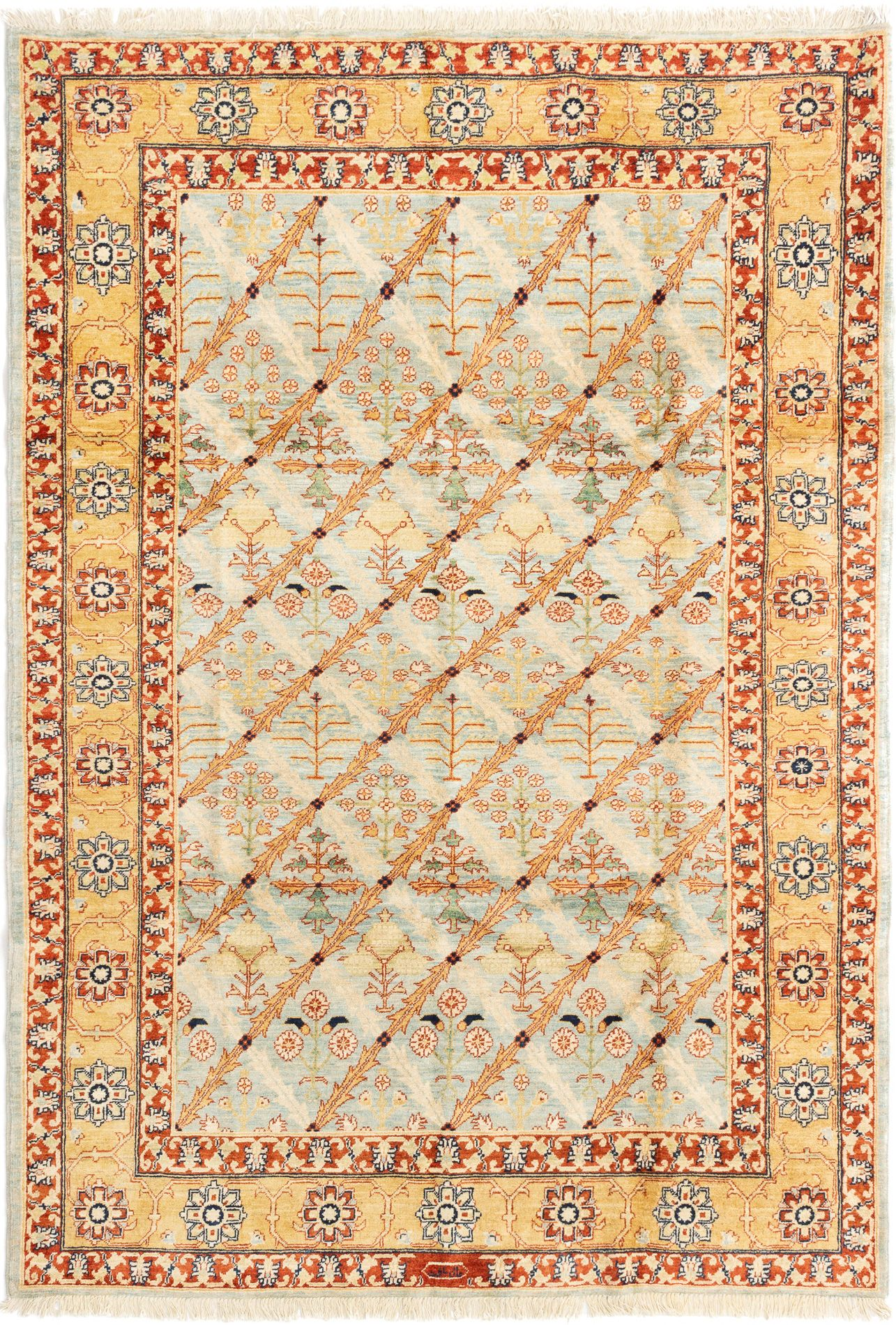 "Hand-knotted Chobi Finest Light Orange Wool Rug 6'1"" x 8'10"" Size: 6'1"" x 8'10"""