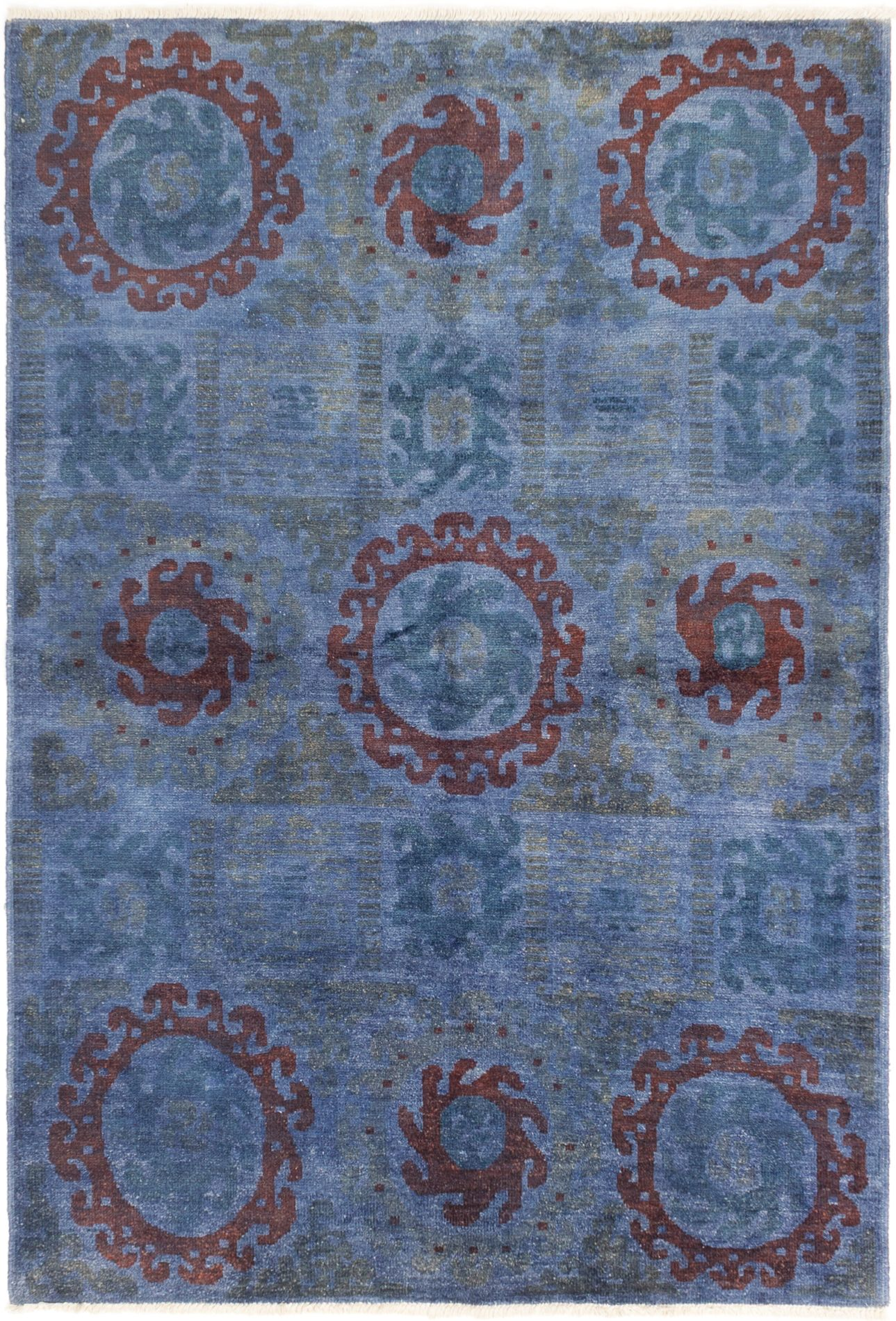"""Hand-knotted Vibrance Blue Wool Rug 6'2"""" x 9'0"""" Size: 6'2"""" x 9'0"""""""