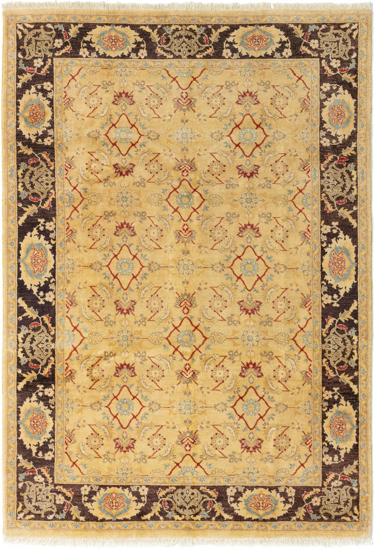 "Hand-knotted Chobi Finest Cream Wool Rug 6'0"" x 8'8"" Product Image"