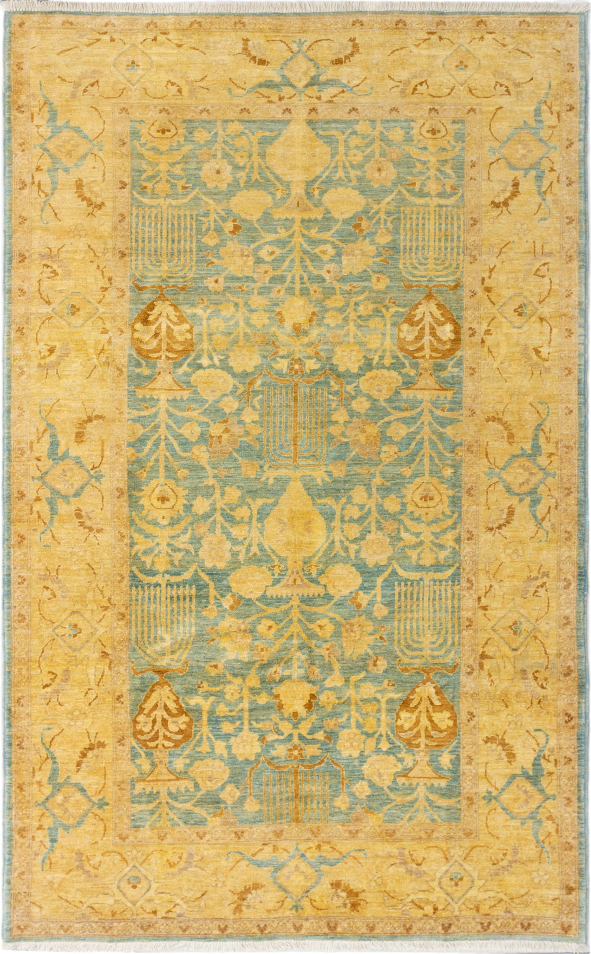 """Hand-knotted Chobi Finest Sky Blue Wool Rug 6'3"""" x 9'10"""" Size: 6'3"""" x 9'10"""""""