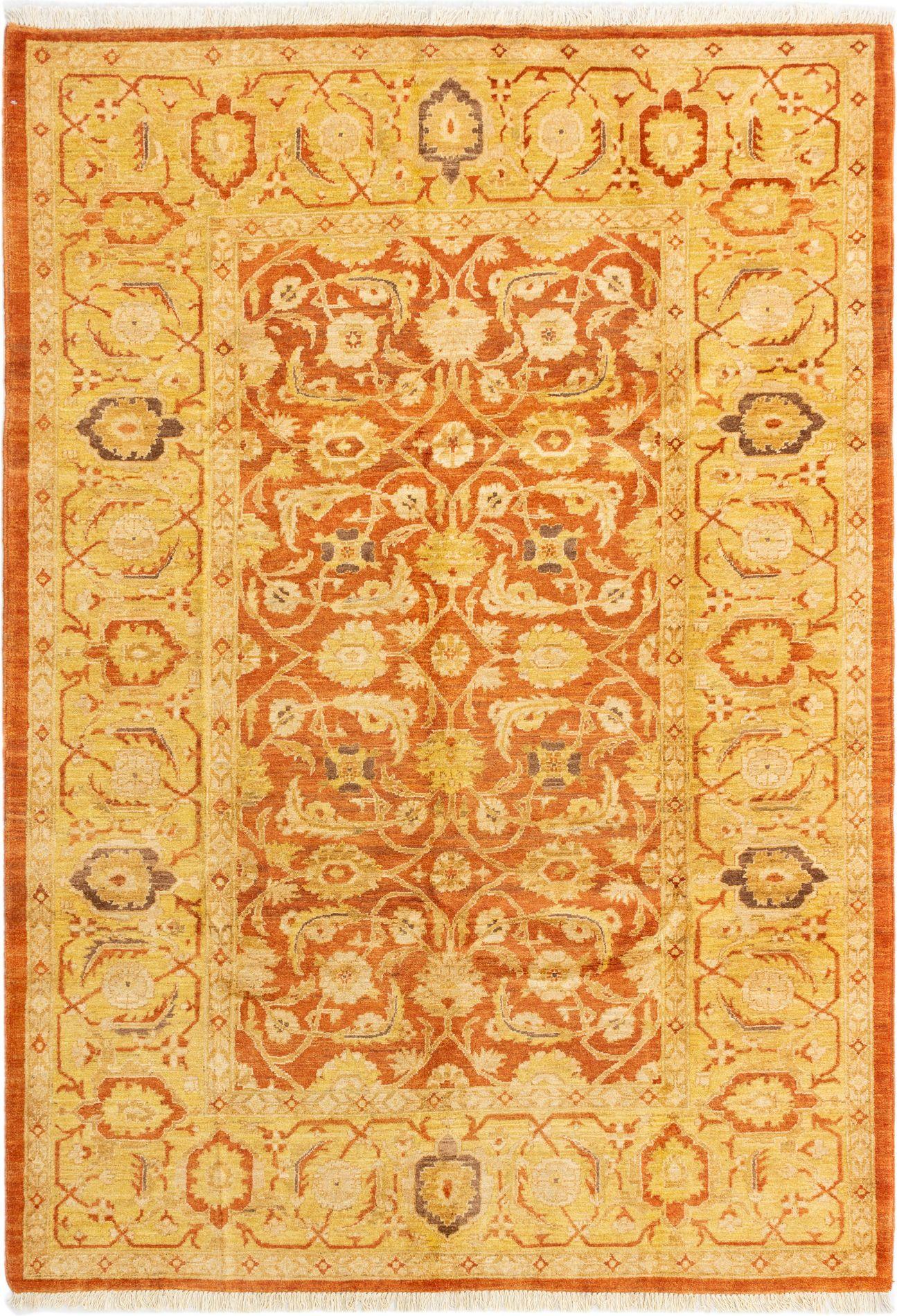 "Hand-knotted Chobi Finest Burnt Orange Wool Rug 6'1"" x 8'9"" Size: 6'1"" x 8'9"""