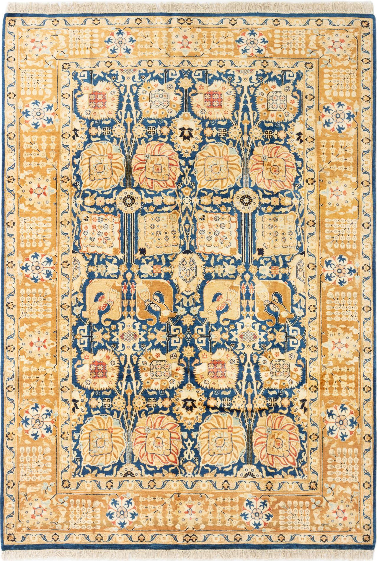 """Hand-knotted Peshawar Finest Navy Blue Wool Rug 6'0"""" x 8'7"""" Size: 6'0"""" x 8'7"""""""