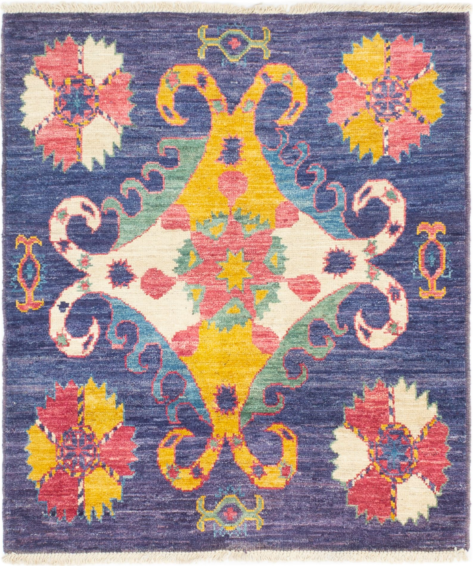 """Hand-knotted Shalimar Blue Wool Rug 5'1"""" x 5'10"""" Size: 5'1"""" x 5'10"""""""