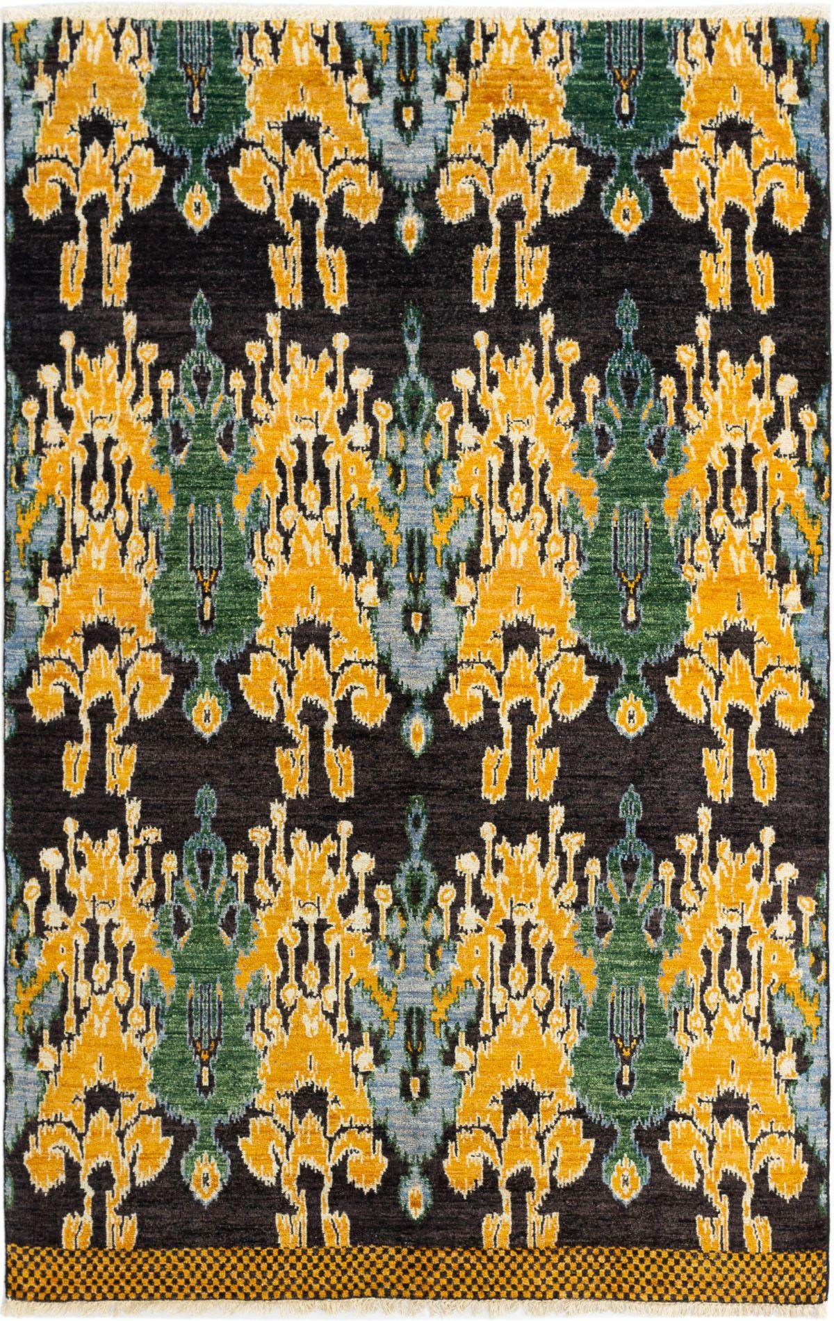 "Hand-knotted Shalimar Black, Dark Gold Wool Rug 5'9"" x 9'2"" Size: 5'9"" x 9'2"""