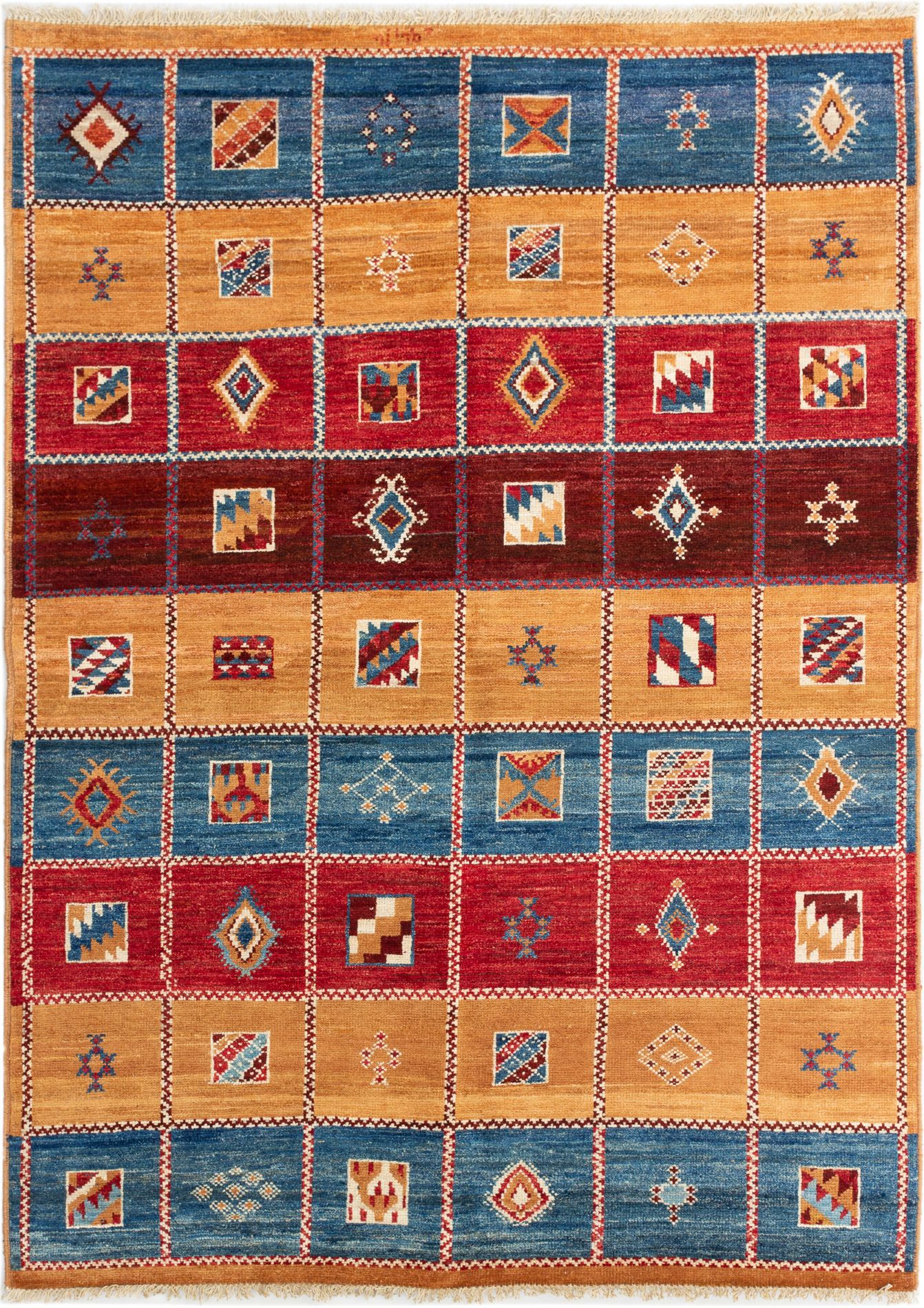 """Hand-knotted Shalimar Blue, Dark Red Wool Rug 6'4"""" x 8'7"""" Size: 6'4"""" x 8'7"""""""