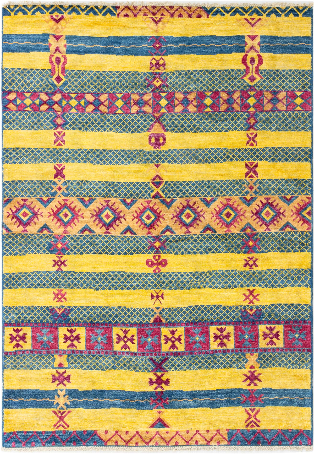 """Hand-knotted Shalimar Navy Blue, Yellow Wool Rug 6'4"""" x 9'0"""" Size: 6'4"""" x 9'0"""""""