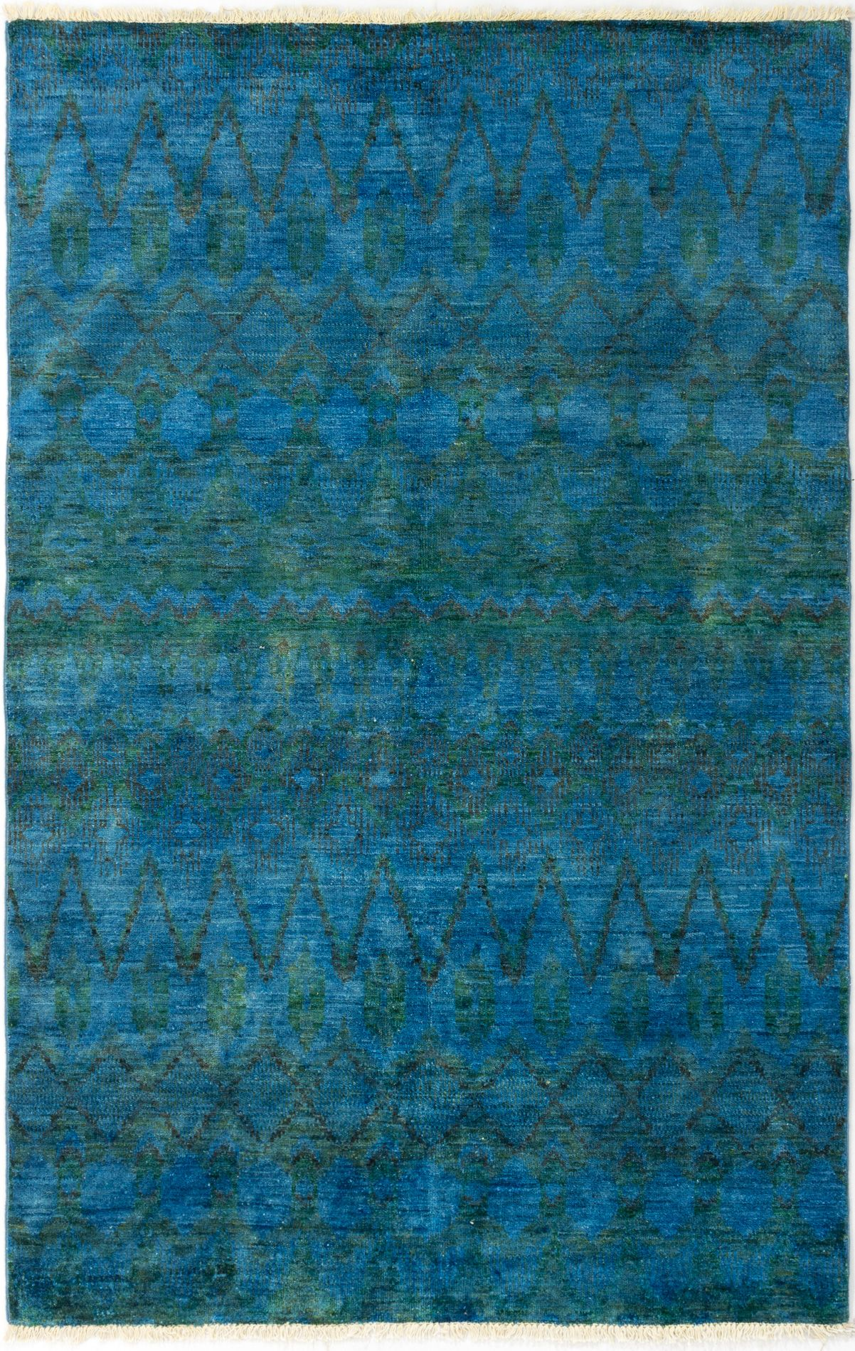 """Hand-knotted Vibrance Navy Blue Wool Rug 5'9"""" x 8'10"""" Size: 5'9"""" x 8'10"""""""