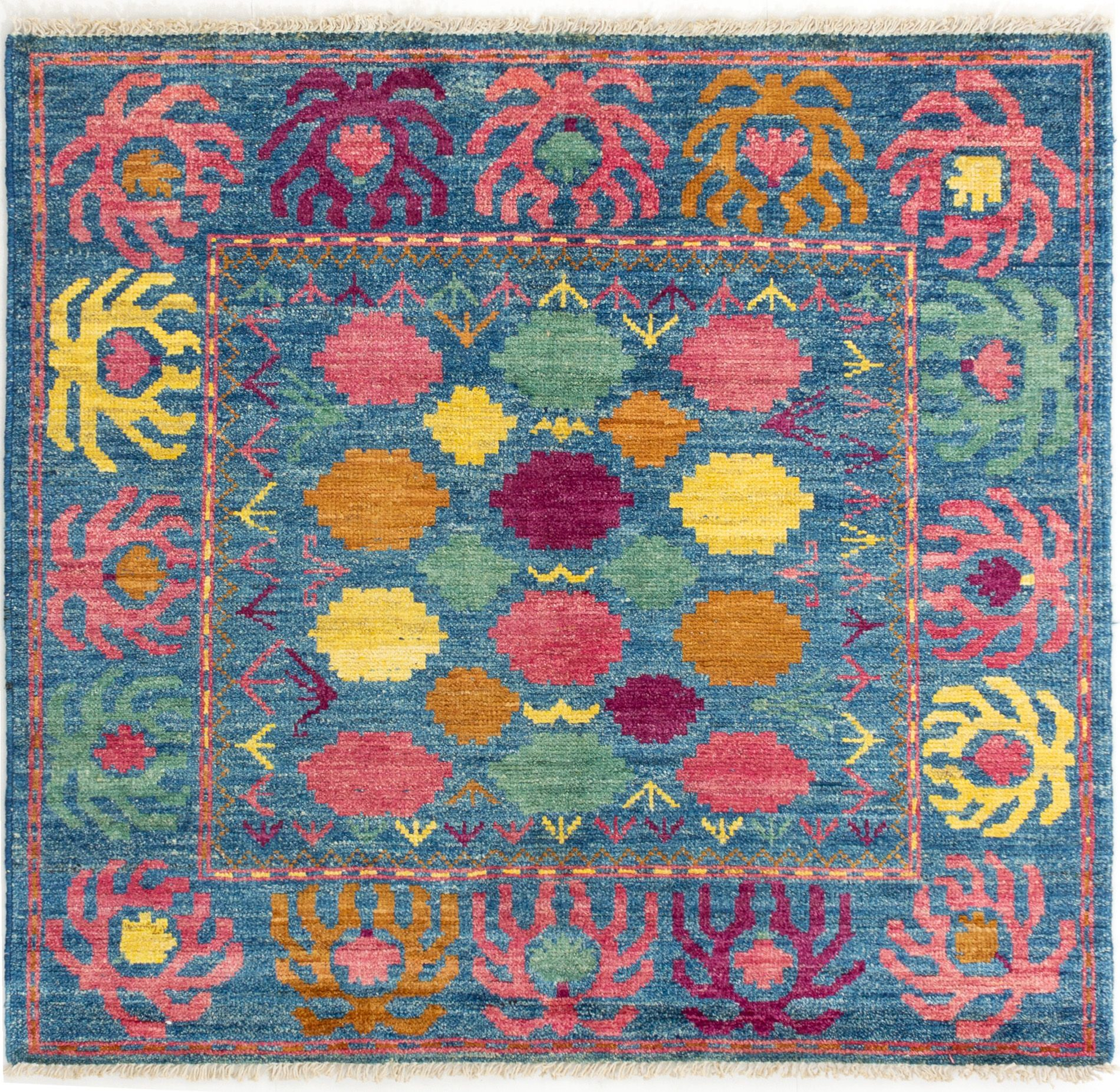 """Hand-knotted Shalimar Sky Blue Wool Rug 5'1"""" x 5'5"""" Size: 5'1"""" x 5'5"""""""