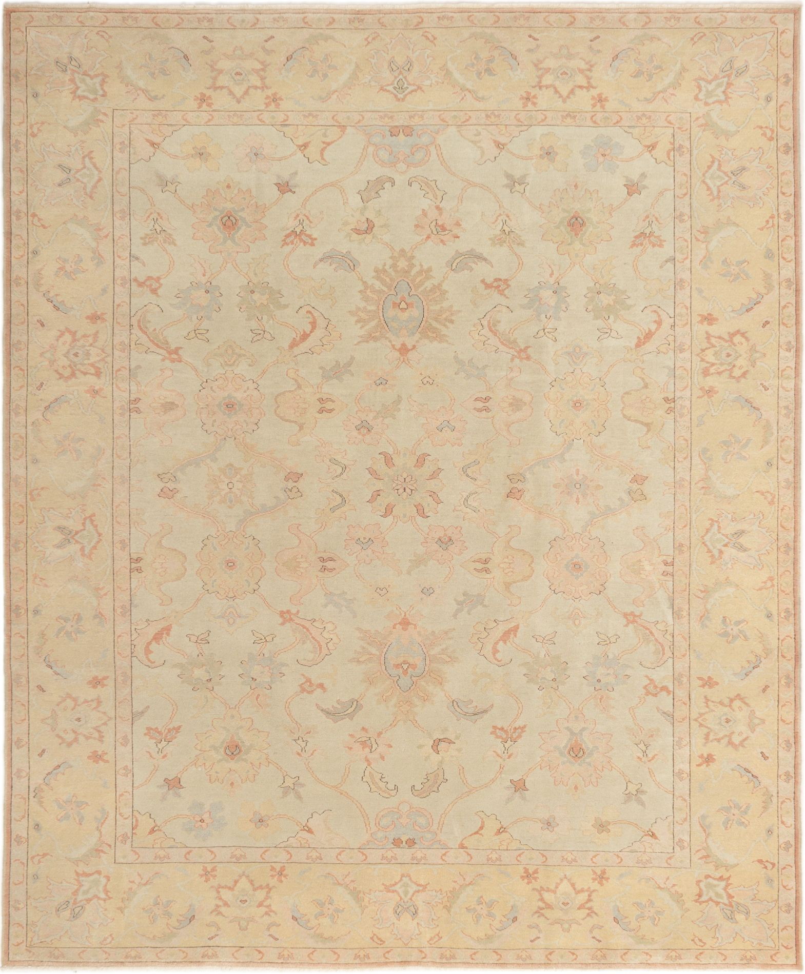 "Hand-knotted Keisari Light Khaki Wool Rug 8'4"" x 9'11"" Size: 8'4"" x 9'11"""