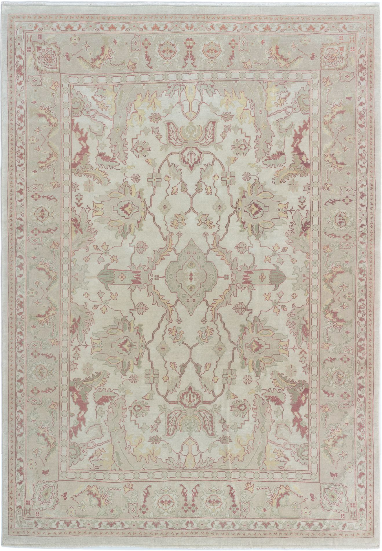 "Hand-knotted Keisari Cream Wool Rug 7'4"" x 10'4"" Size: 7'4"" x 10'4"""