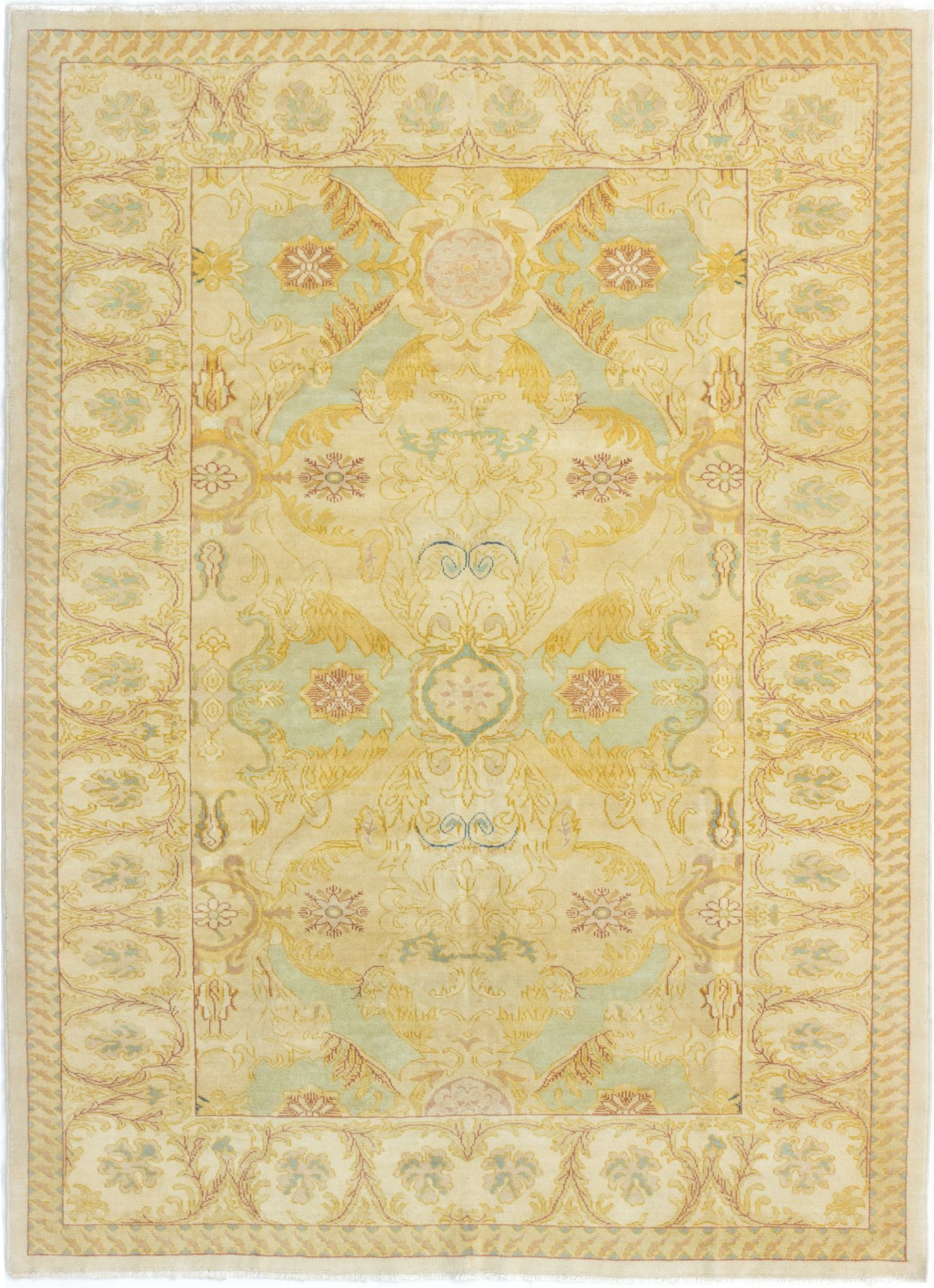 "Hand-knotted Keisari Beige Wool Rug 6'0"" x 8'8"" Size: 6'0"" x 8'8"""