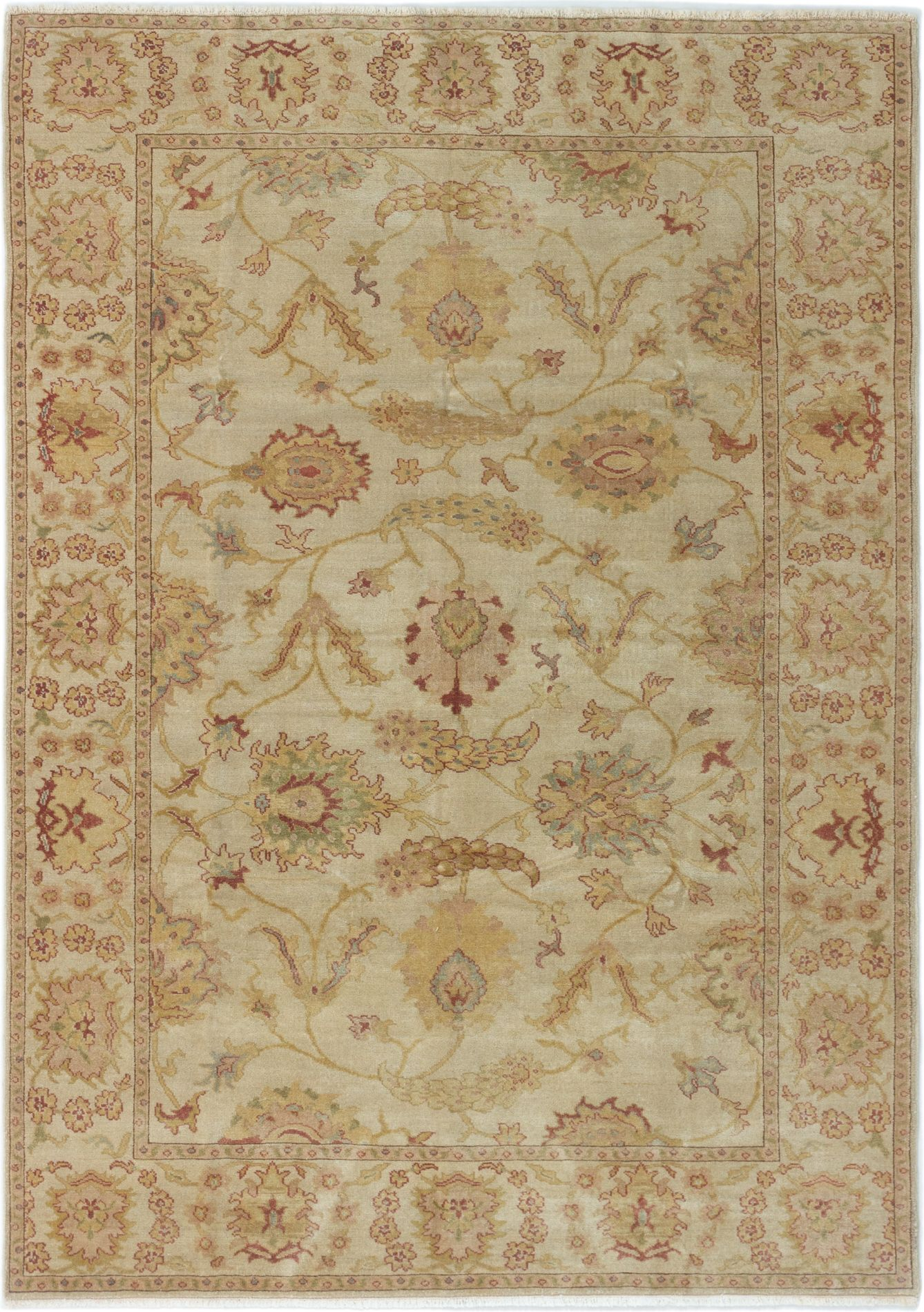 """Hand-knotted Authentic Ushak Cream Wool Rug 6'3"""" x 8'7"""" Size: 6'3"""" x 8'7"""""""