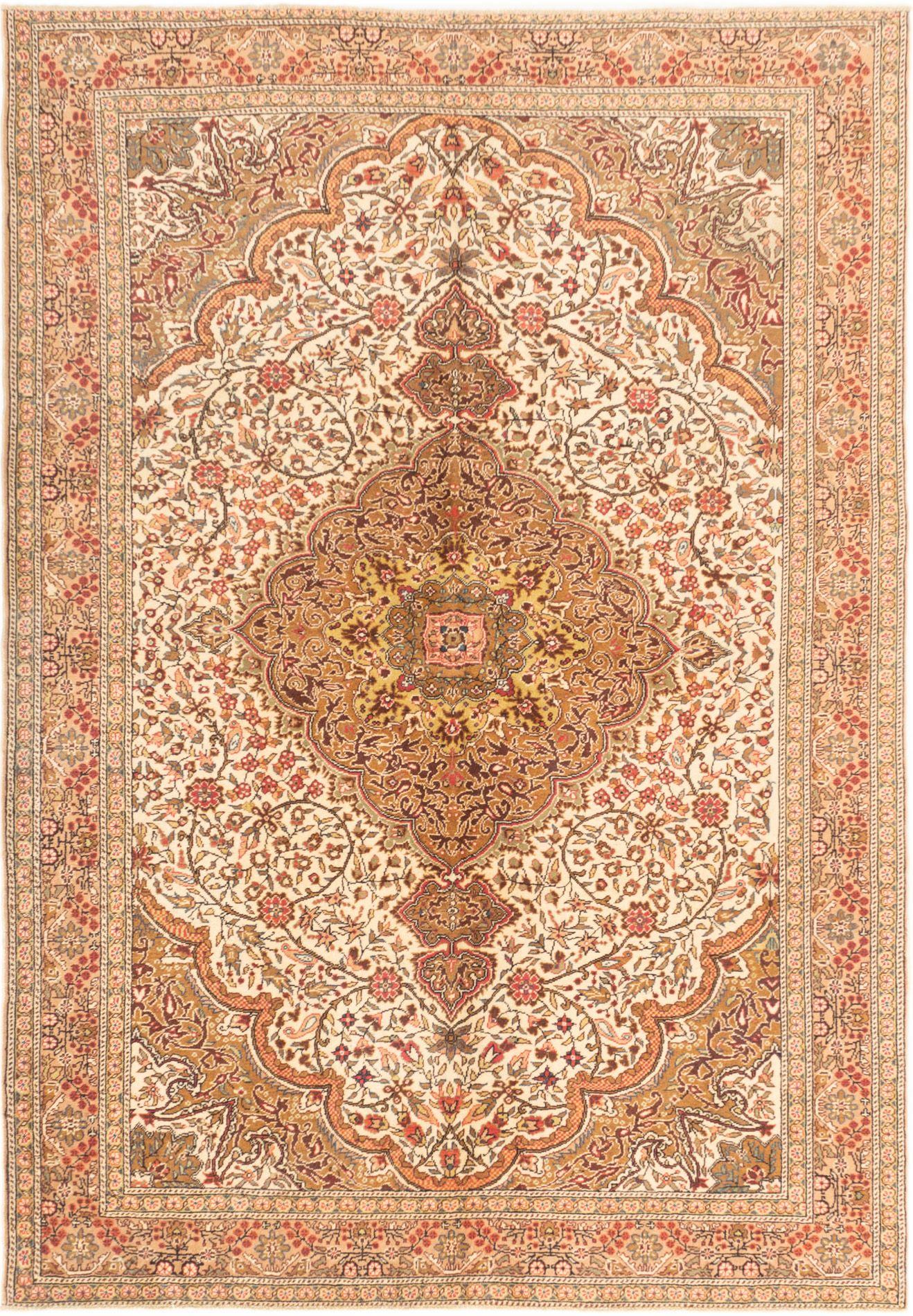 "Hand-knotted Anatolian Cream Wool Rug 6'7"" x 9'7"" Size: 6'7"" x 9'7"""