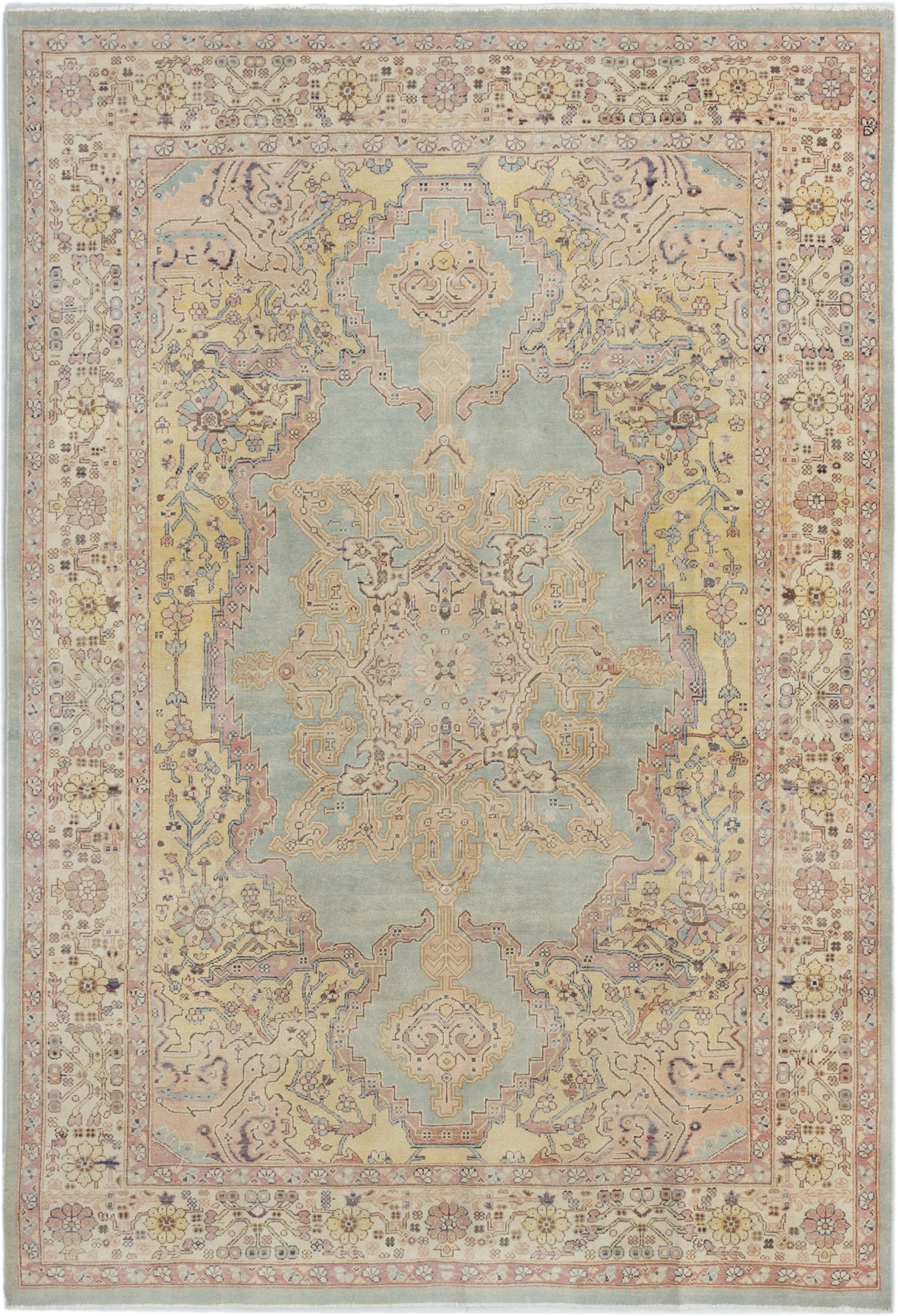 """Hand-knotted Keisari Cream, Light Blue  Wool Rug 6'0"""" x 8'7"""" Size: 6'0"""" x 8'7"""""""