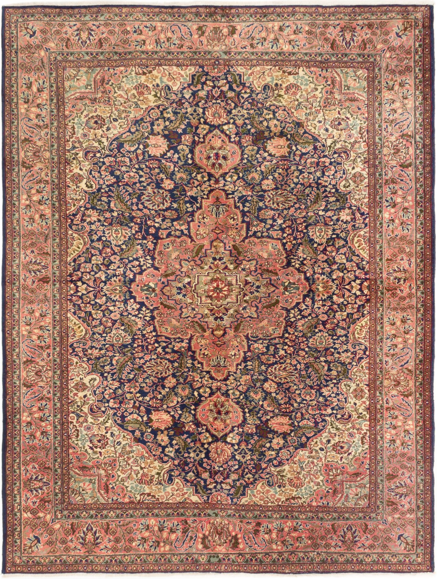 """Hand-knotted Hereke Navy Blue Wool Rug 6'10"""" x 8'11"""" Size: 6'10"""" x 8'11"""""""
