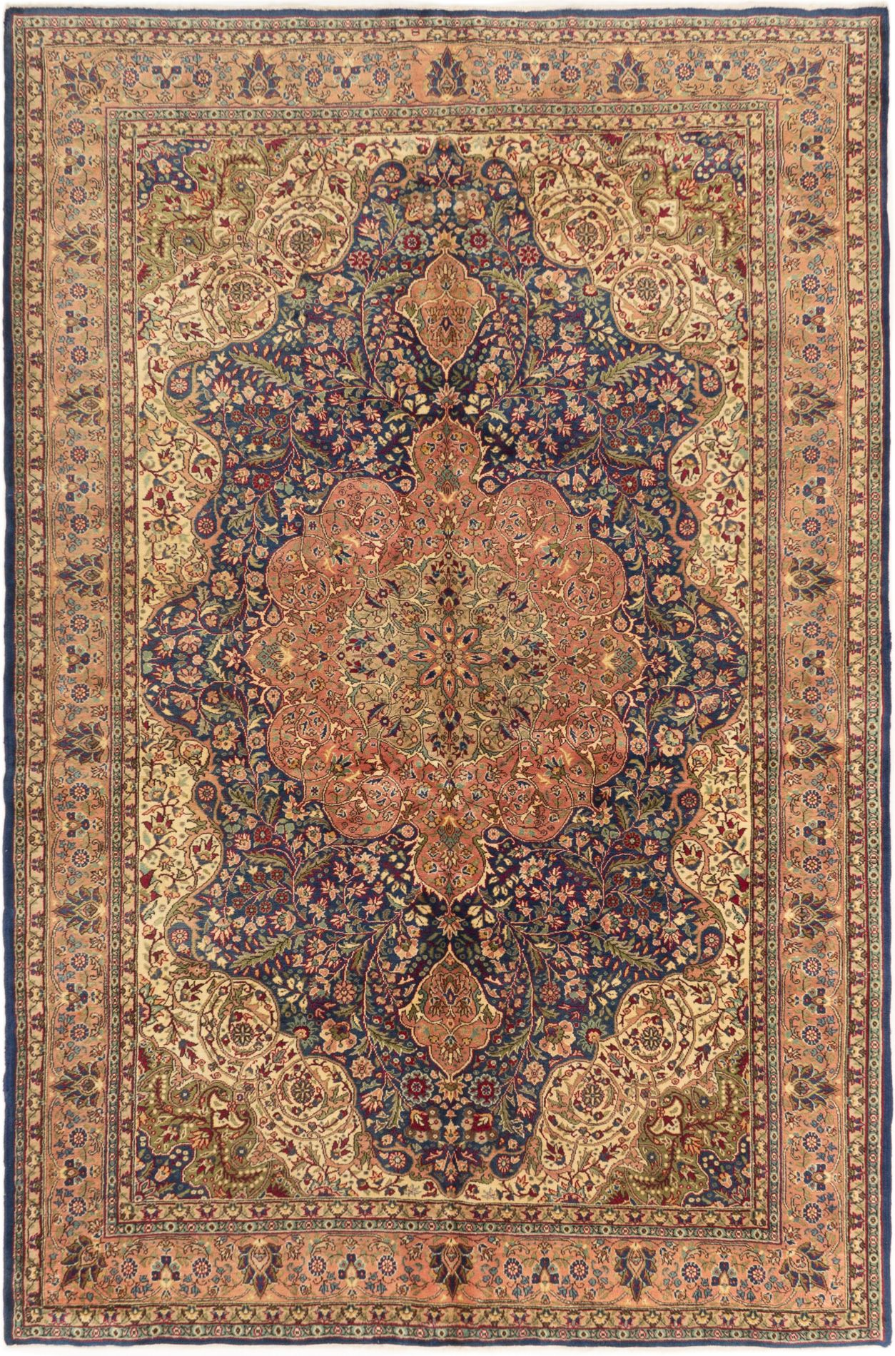"""Hand-knotted Hereke Navy Blue Wool Rug 6'9"""" x 9'10"""" Size: 6'9"""" x 9'10"""""""
