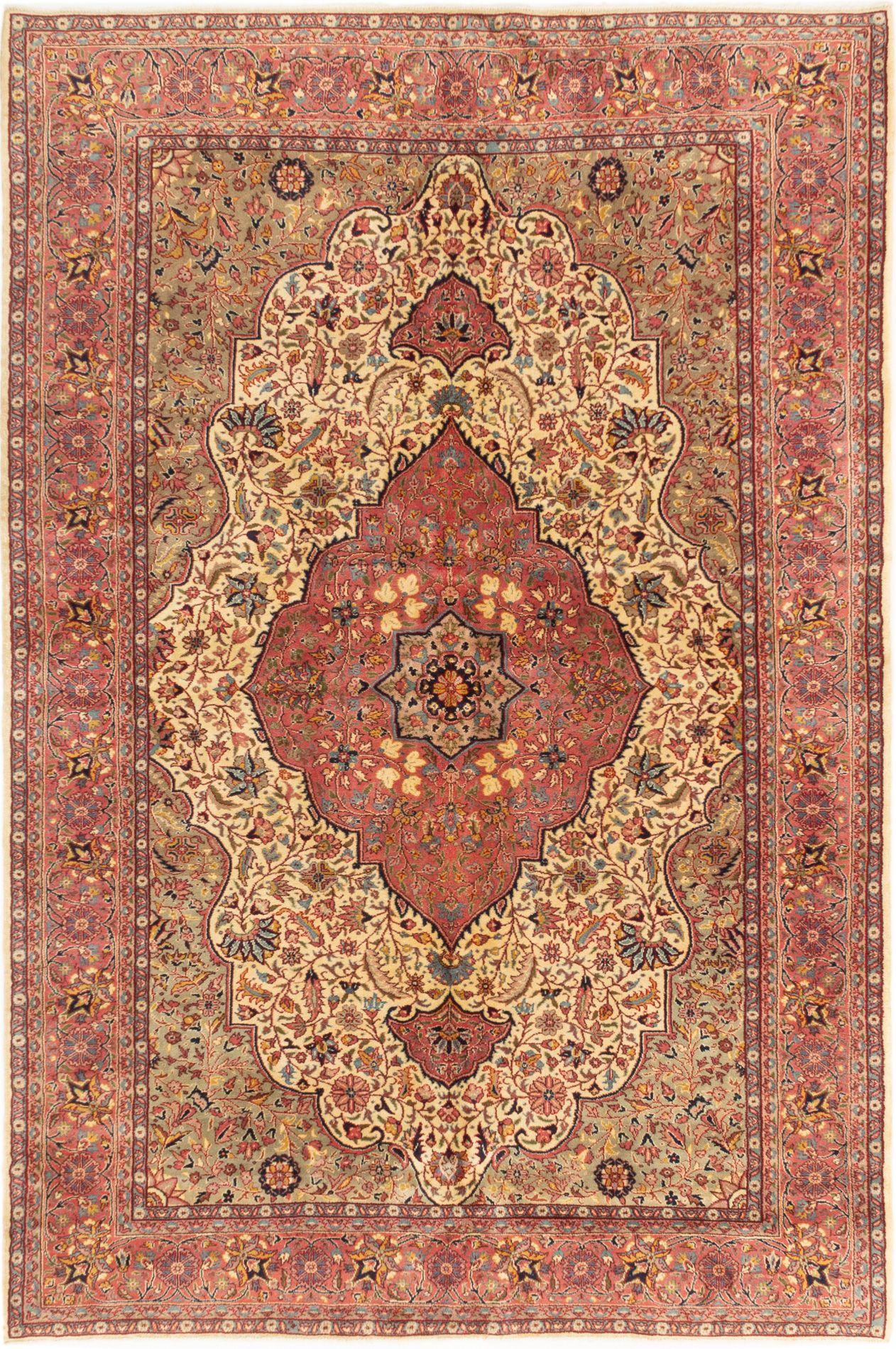 "Hand-knotted Anatolian Vintage Cream, Dark Pink Wool Rug 6'9"" x 10'2"" Size: 6'9"" x 10'2"""