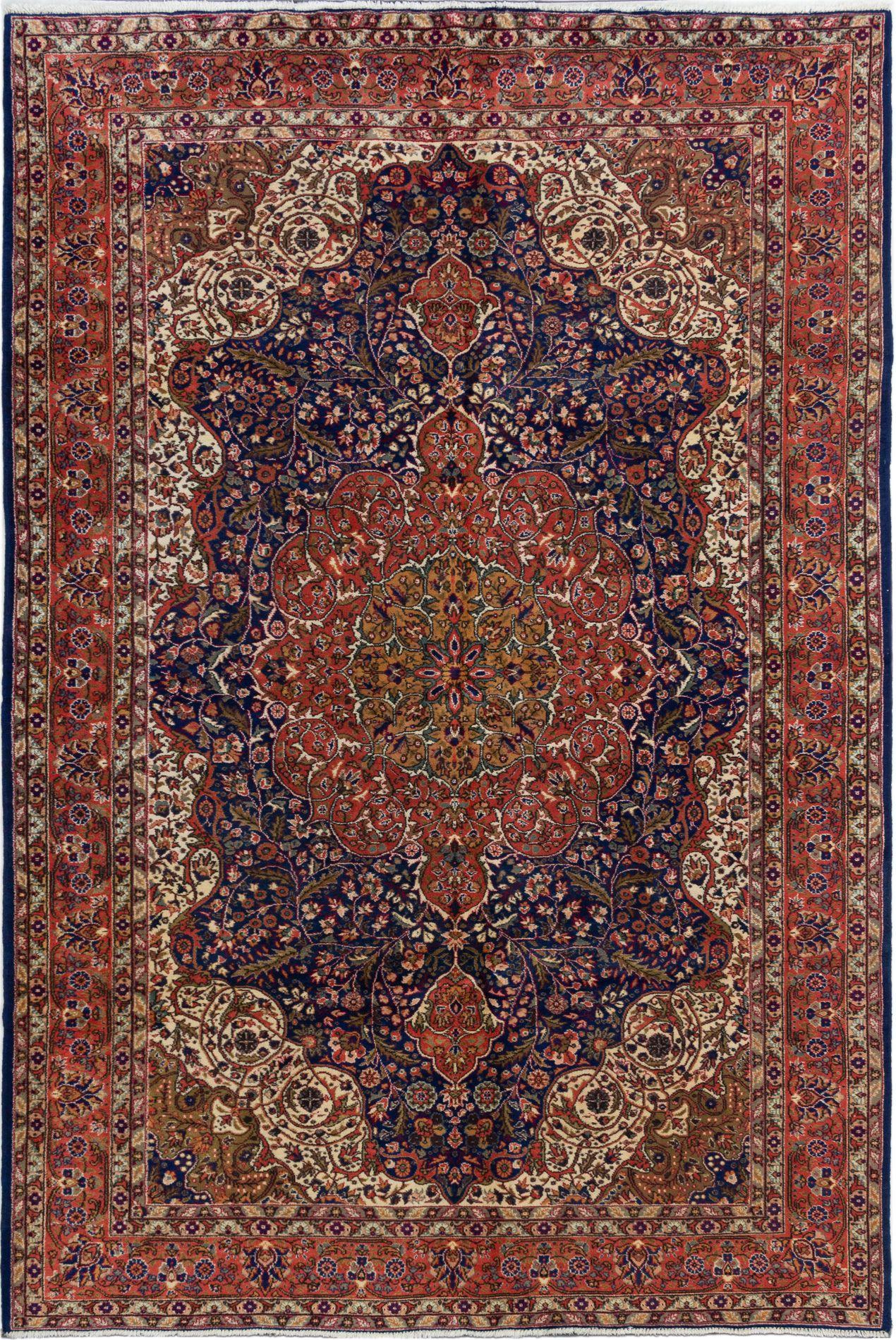 "Hand-knotted Hereke Dark Copper, Navy Blue Wool Rug 6'8"" x 10'0"" Size: 6'8"" x 10'0"""