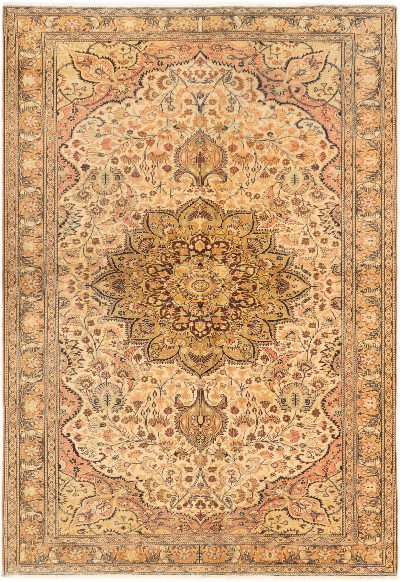 """Hand-knotted Anatolian Vintage Ivory Wool Rug 6'7"""" x 9'8"""" Size: 6'7"""" x 9'8"""""""