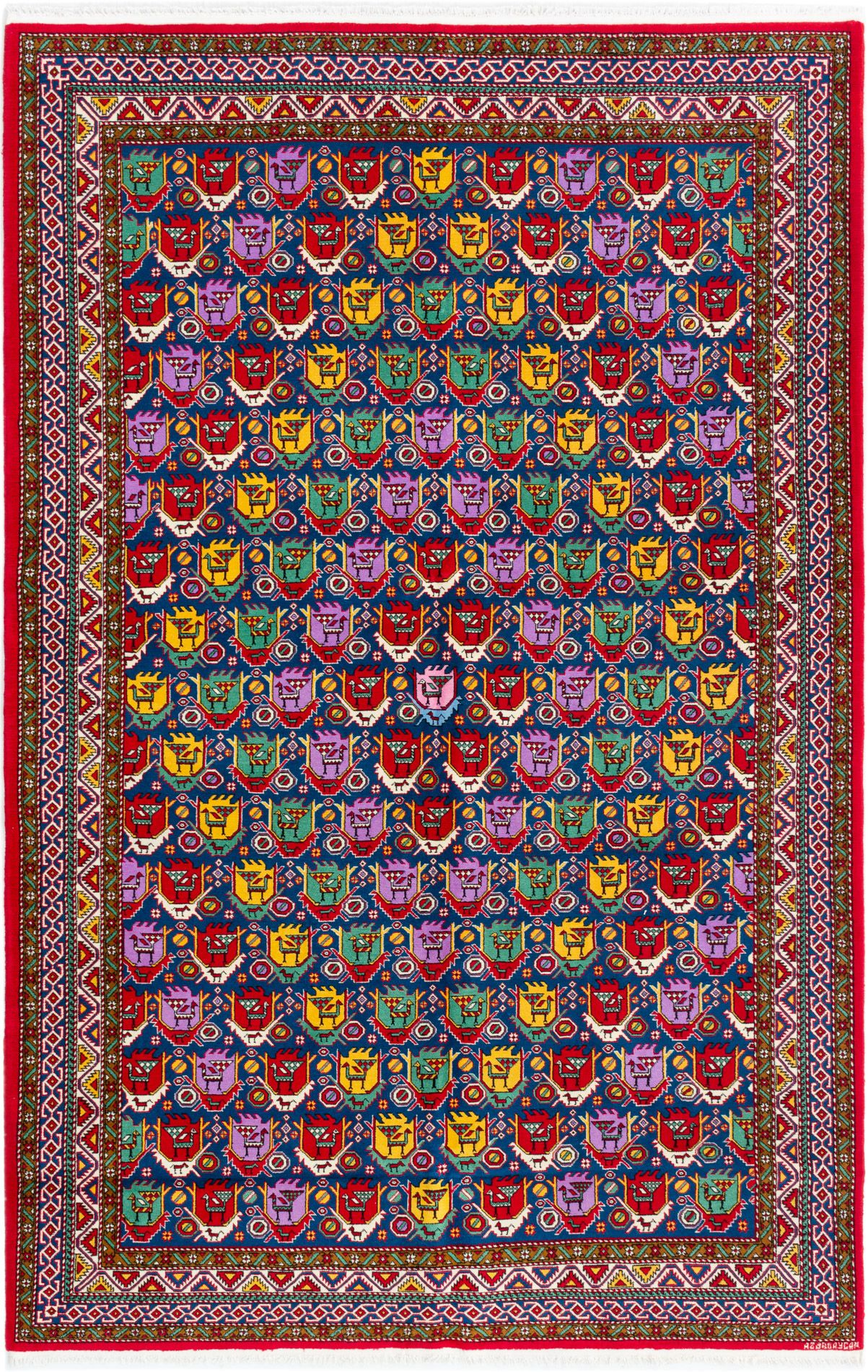 """Hand-knotted Keisari Dark Blue, Red Wool Rug 6'5"""" x 10'0"""" Size: 6'5"""" x 10'0"""""""