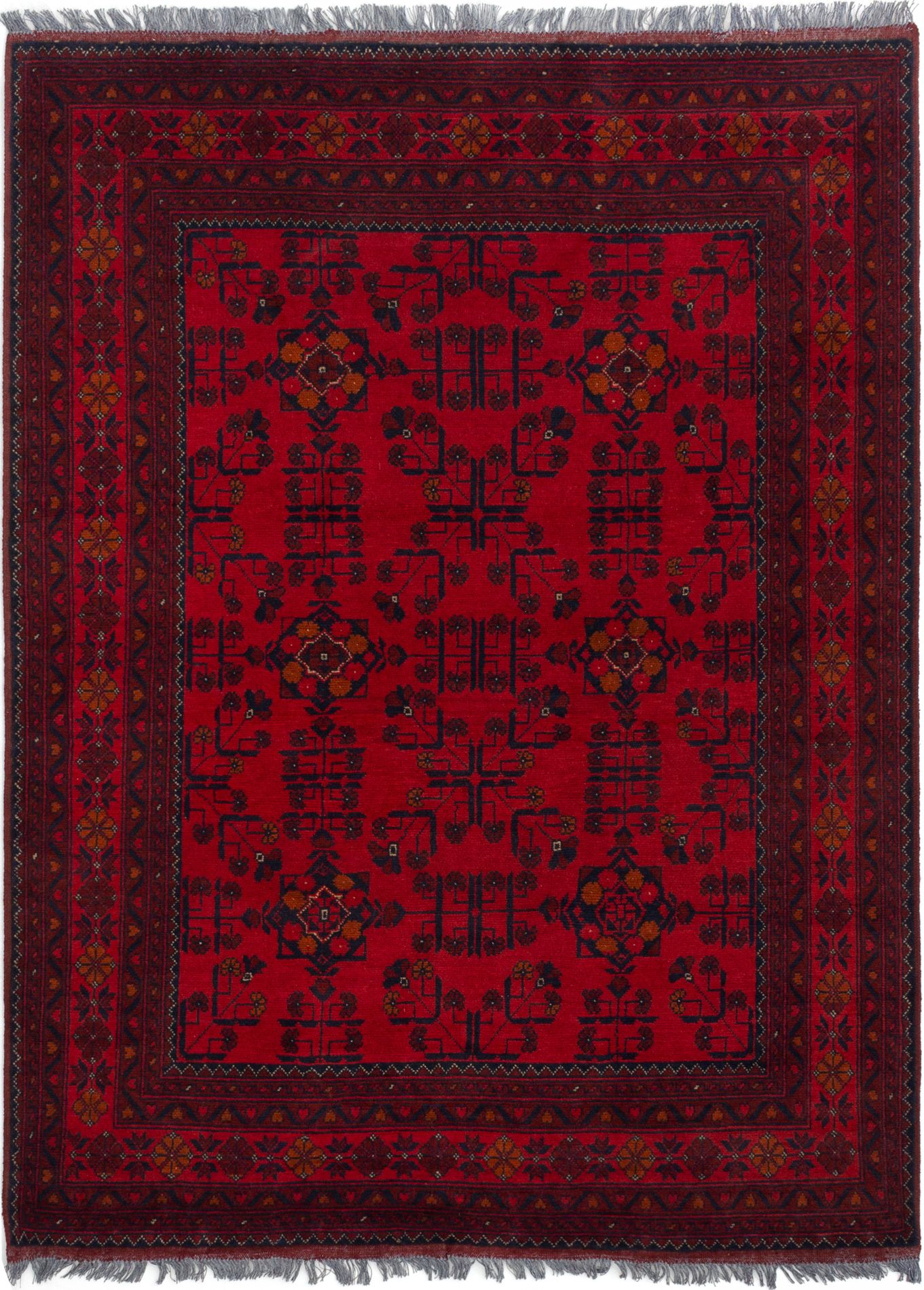 """Hand-knotted Finest Khal Mohammadi Red Wool Rug 4'11"""" x 6'7""""  Size: 4'11"""" x 6'7"""""""