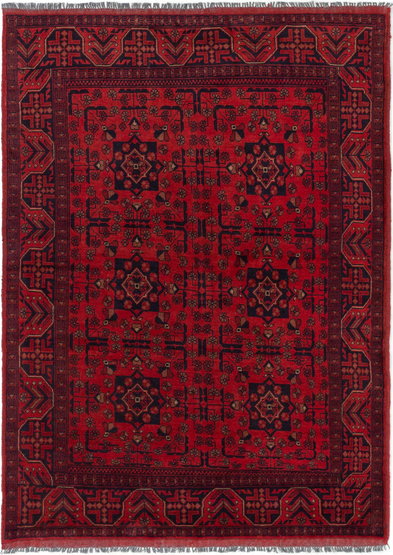 """Hand-knotted Finest Khal Mohammadi Red Wool Rug 4'10"""" x 6'9""""  Size: 4'10"""" x 6'9"""""""